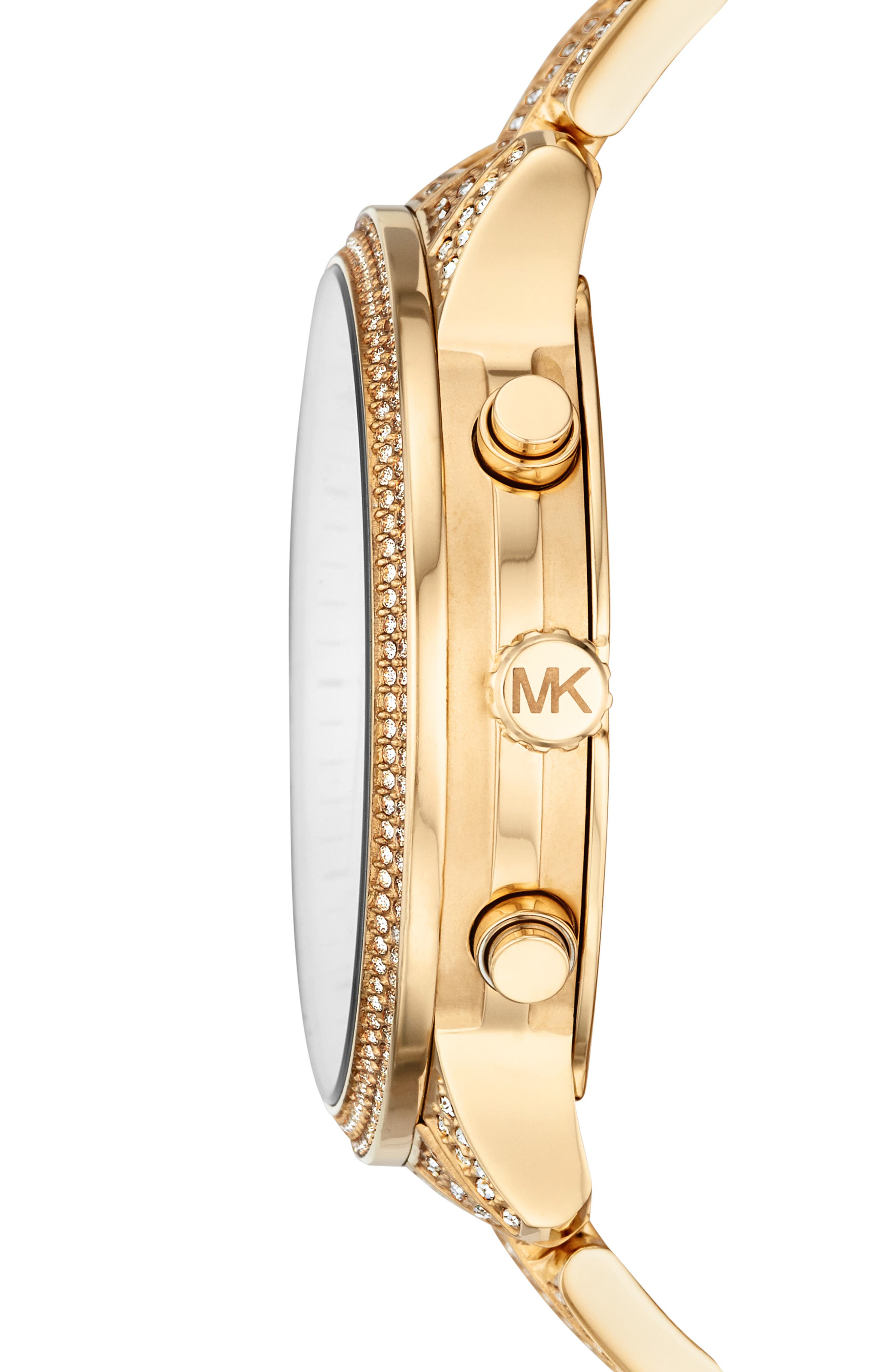 MICHAEL MICHAEL KORS, Runway Crystals Bracelet Watch, 43mm, Alternate thumbnail 2, color, GOLD