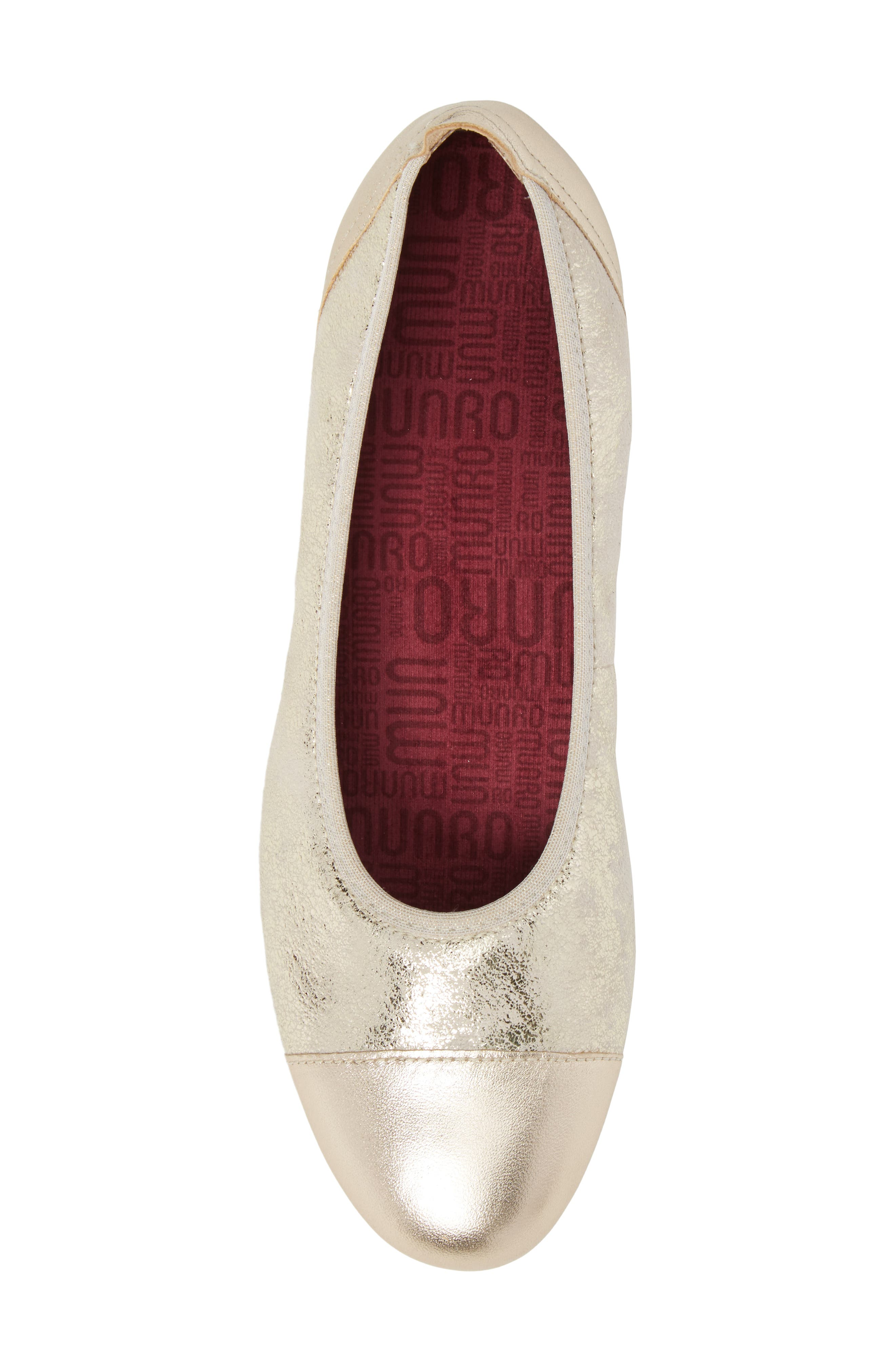 MUNRO, Henlee Cap Toe Flat, Alternate thumbnail 5, color, PLATINUM SHIMMER LEATHER