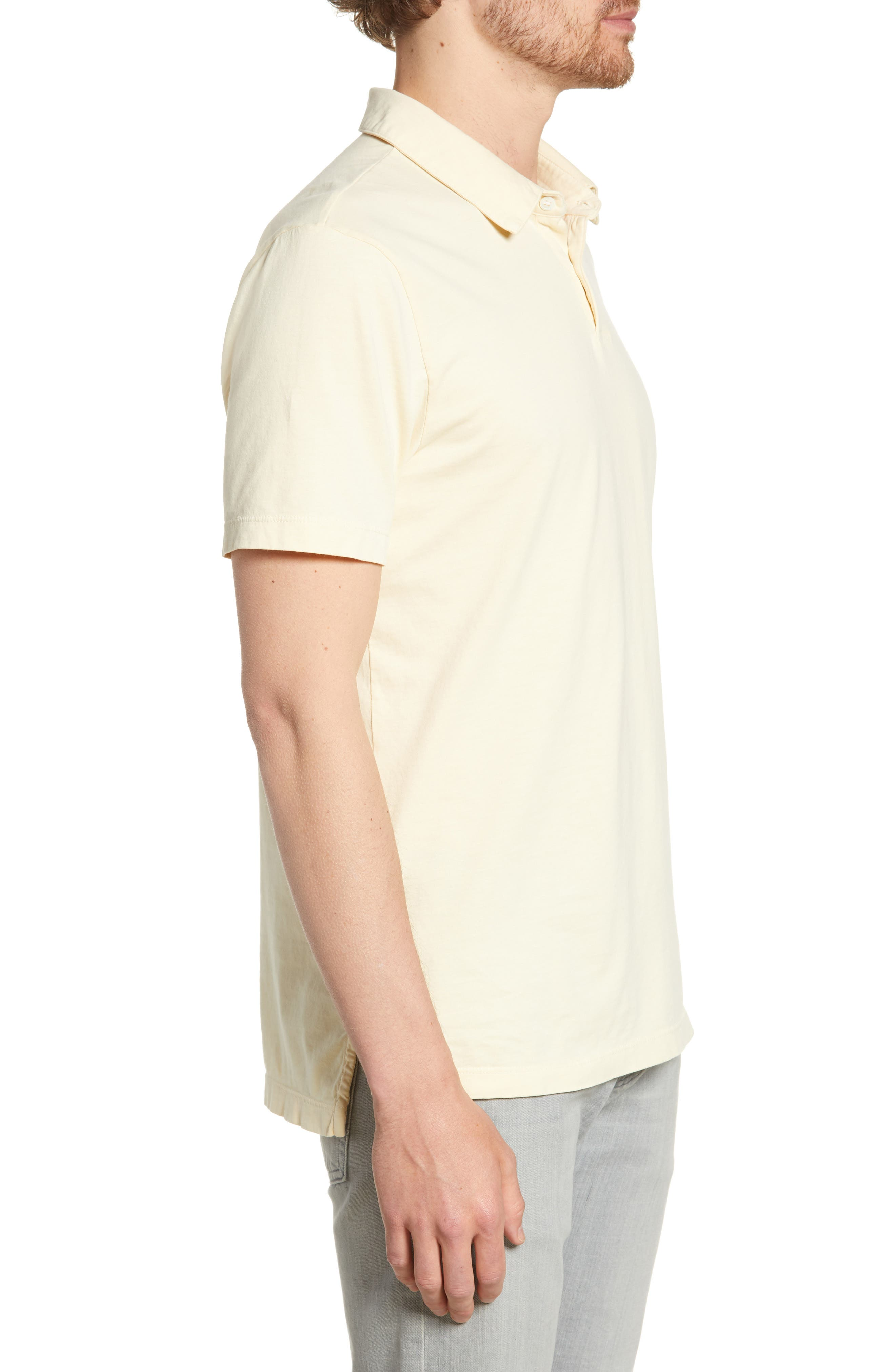 JAMES PERSE, Slim Fit Sueded Jersey Polo, Alternate thumbnail 3, color, GESSO