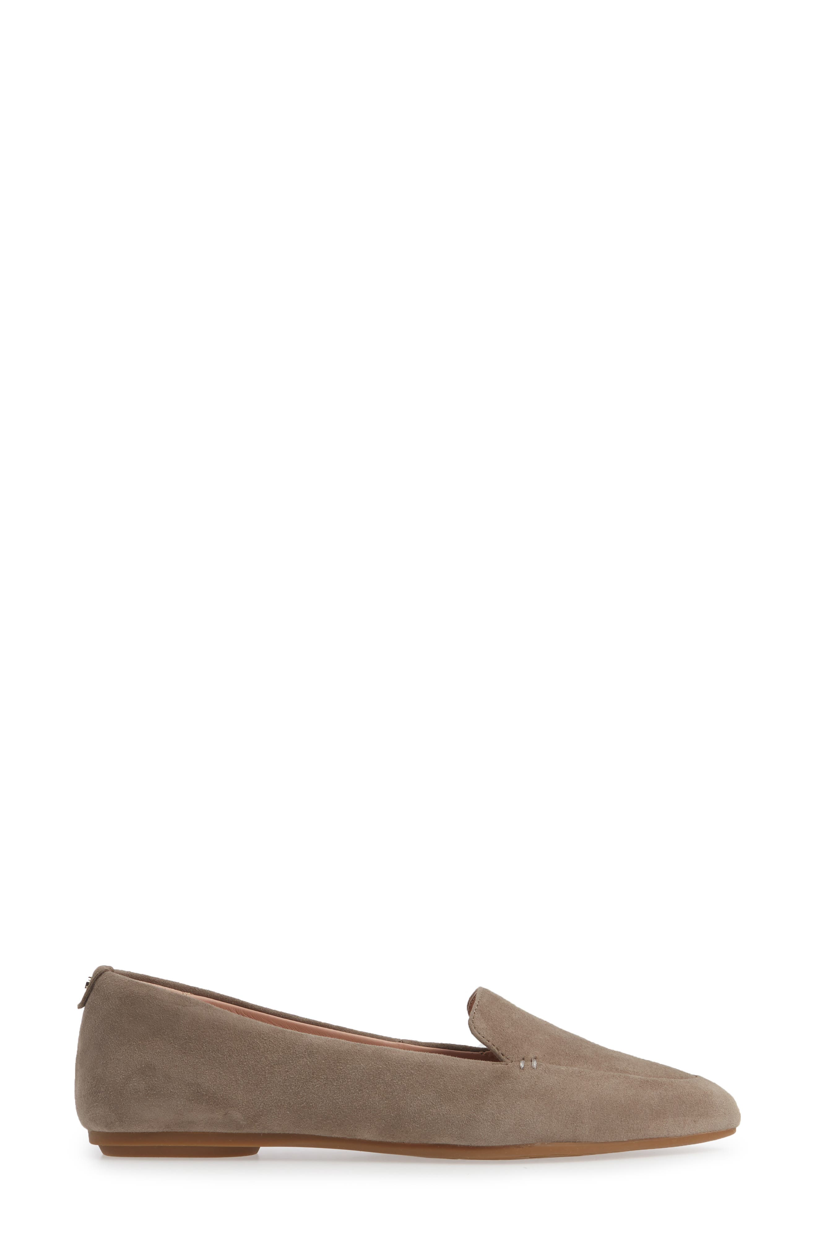 TARYN ROSE, Faye Pointy Toe Loafer, Alternate thumbnail 3, color, CLAY SUEDE