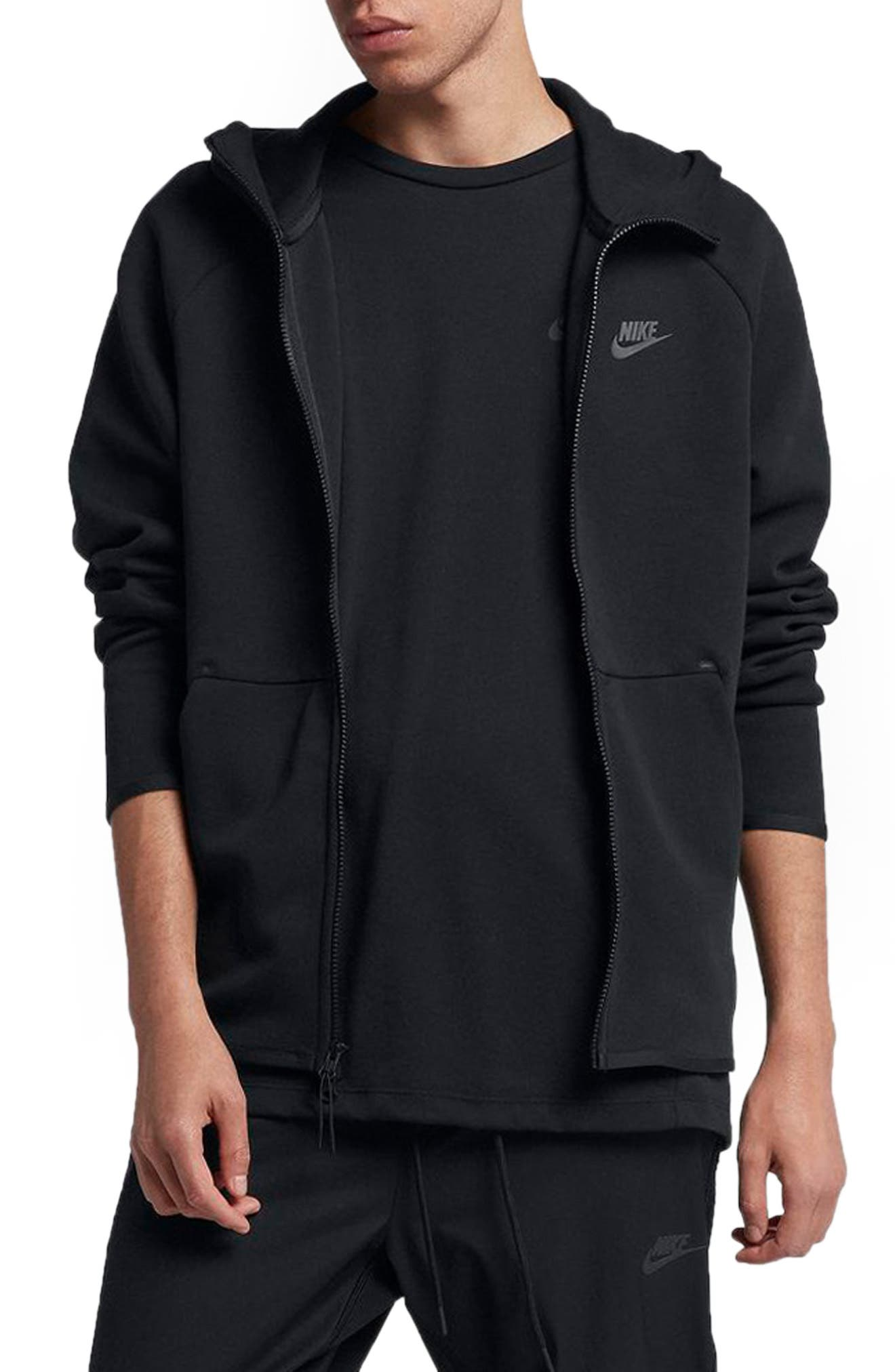 NIKE, Sportswear Tech Fleece Zip Hoodie, Main thumbnail 1, color, BLACK/ BLACK
