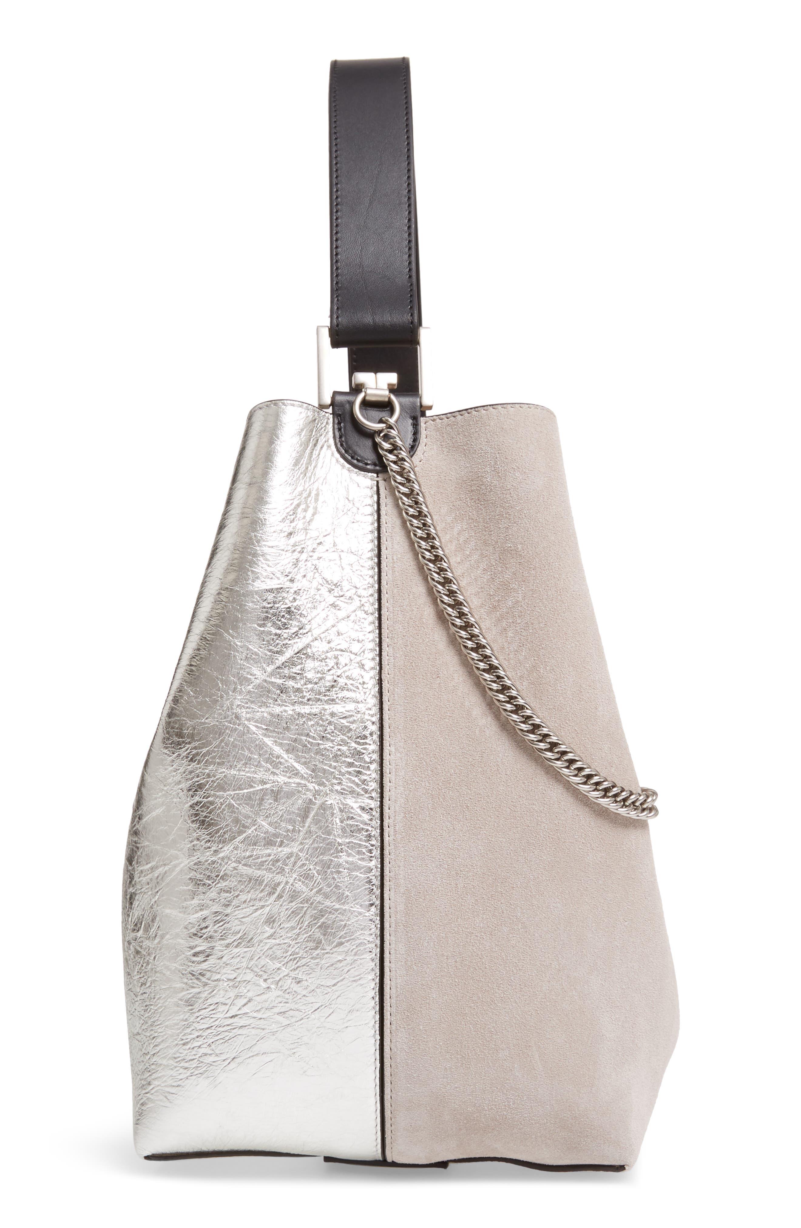 GIVENCHY, Medium GV Calfskin Suede Bucket Bag, Alternate thumbnail 6, color, NATURAL/ SILVER