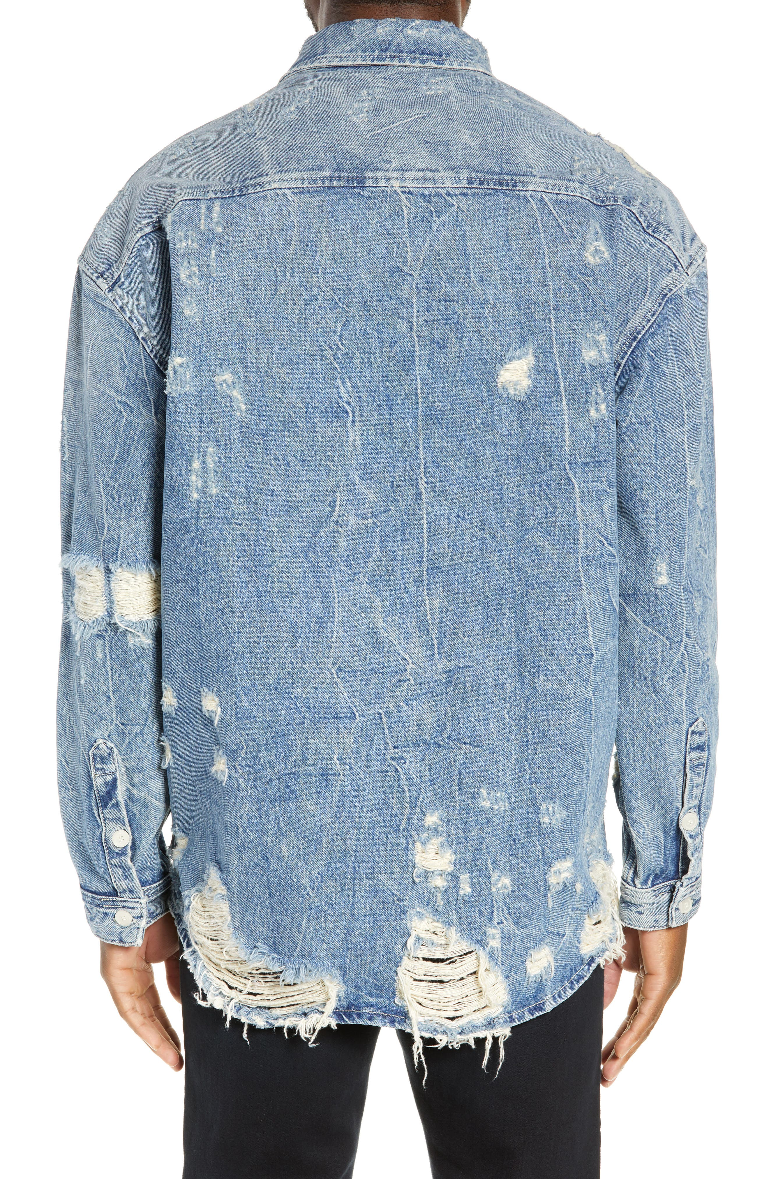 THE KOOPLES, Distressed Denim Overshirt, Alternate thumbnail 2, color, BLUE DENIM