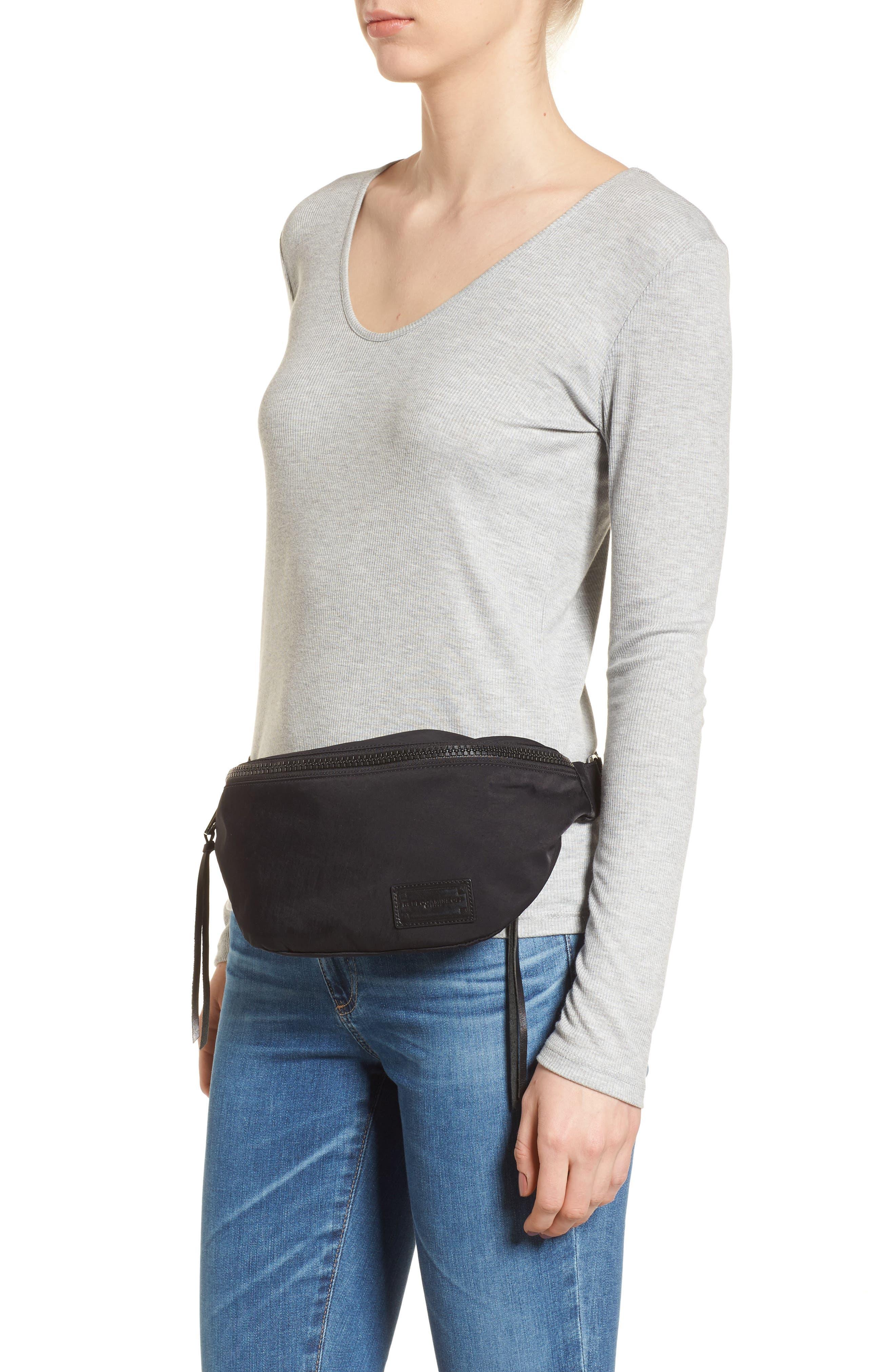 REBECCA MINKOFF, Nylon Belt Bag, Alternate thumbnail 2, color, BLACK