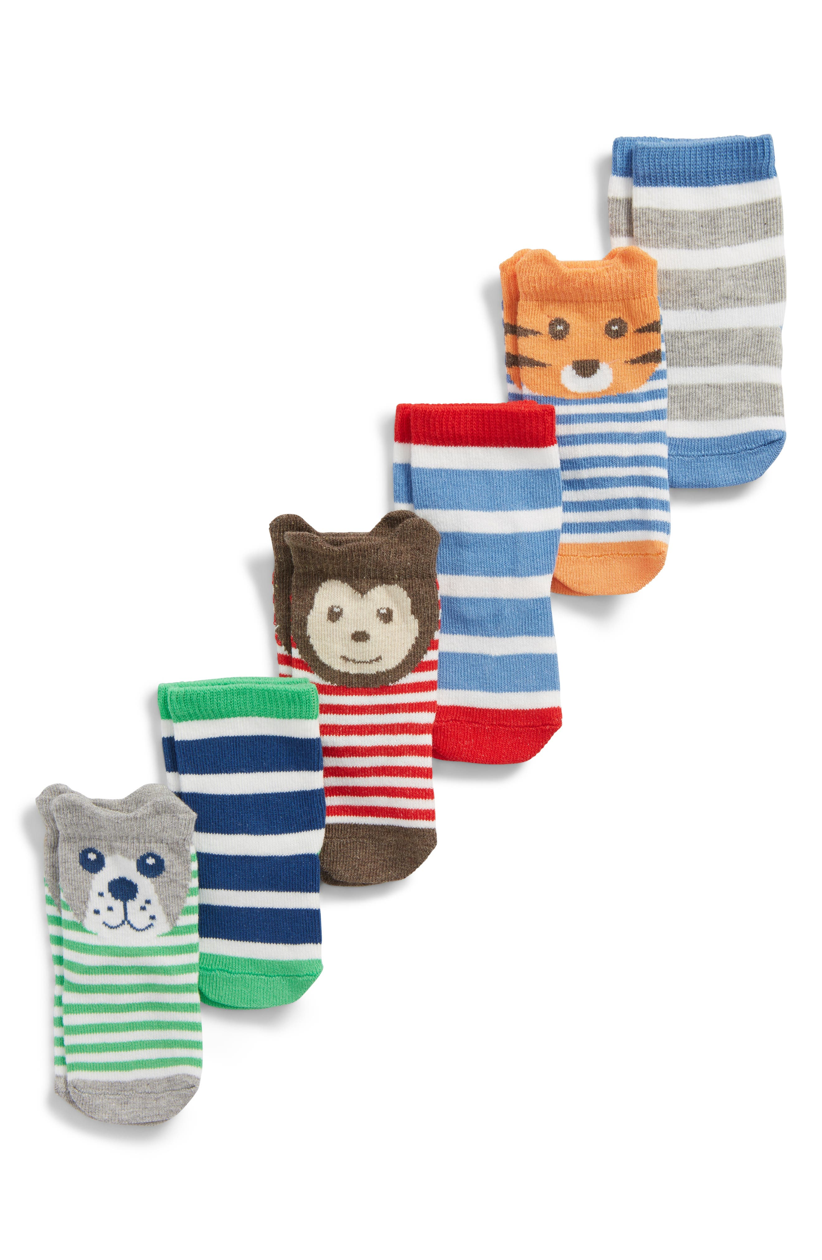 TUCKER + TATE, 6-Pack Animal Socks, Main thumbnail 1, color, BOY ANIMAL PACK