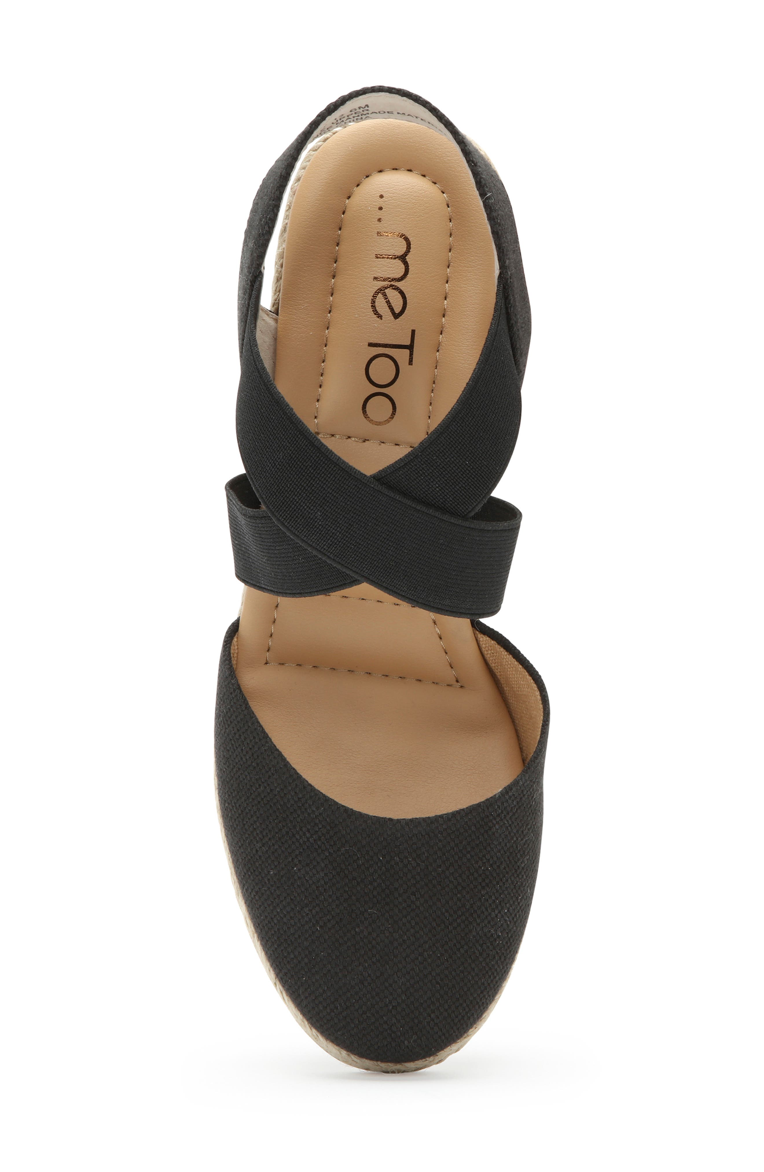 ME TOO, Brinley Espadrille Wedge, Alternate thumbnail 5, color, BLACK CANVAS