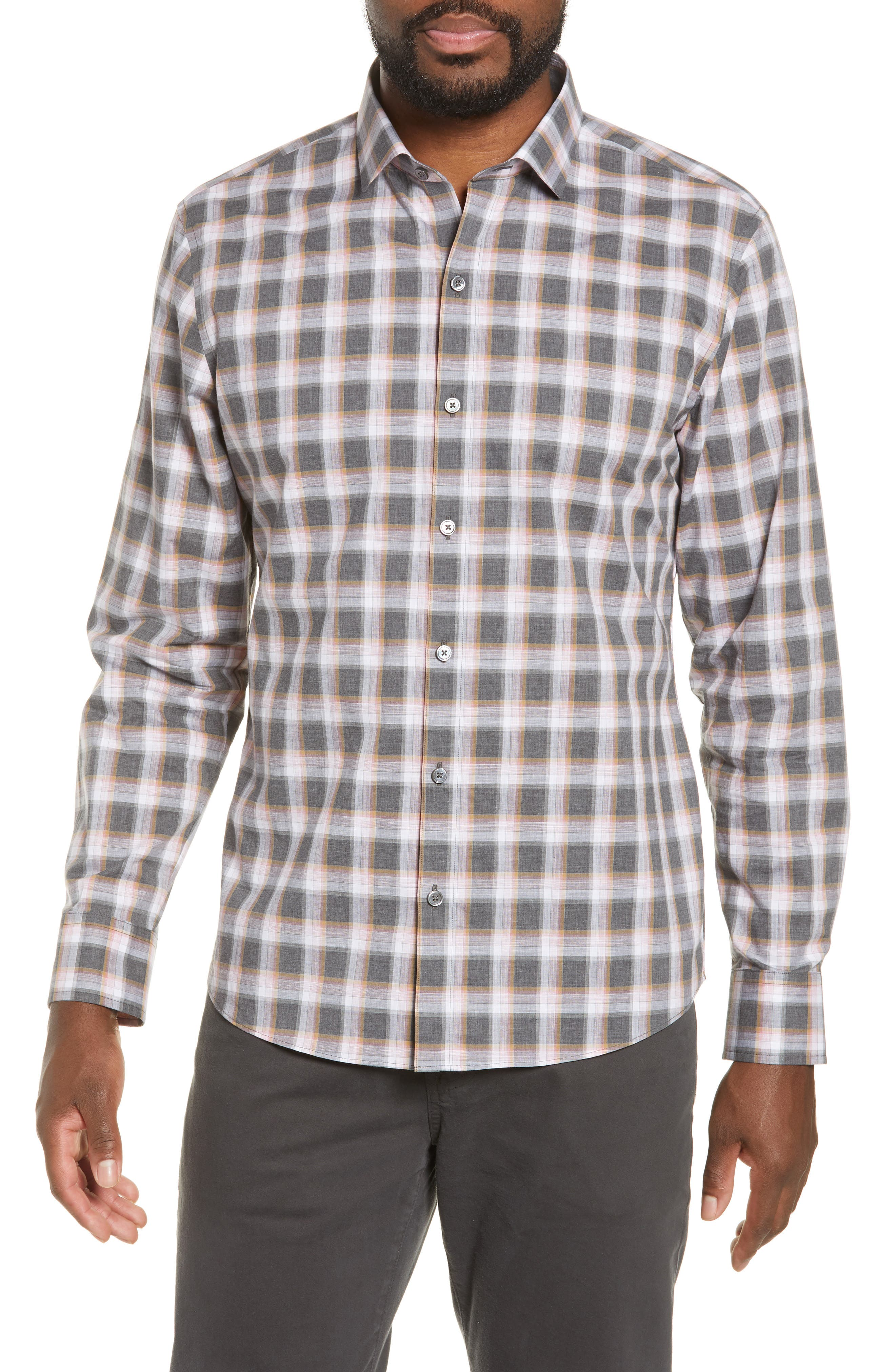ZACHARY PRELL, Pagatpatan Regular Fit Plaid Sport Shirt, Main thumbnail 1, color, GREY