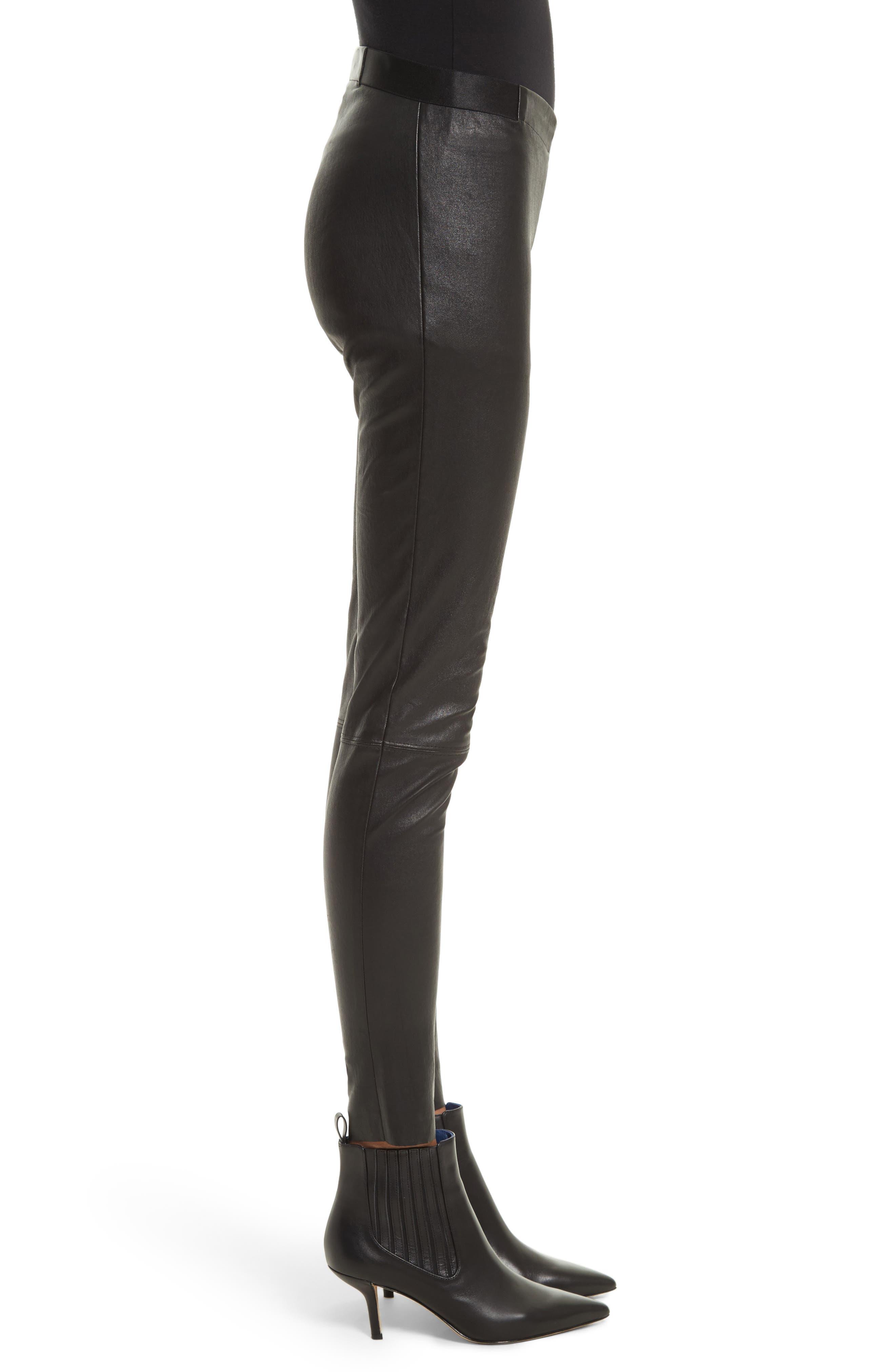 ALICE + OLIVIA, Leather Leggings, Alternate thumbnail 4, color, BLACK