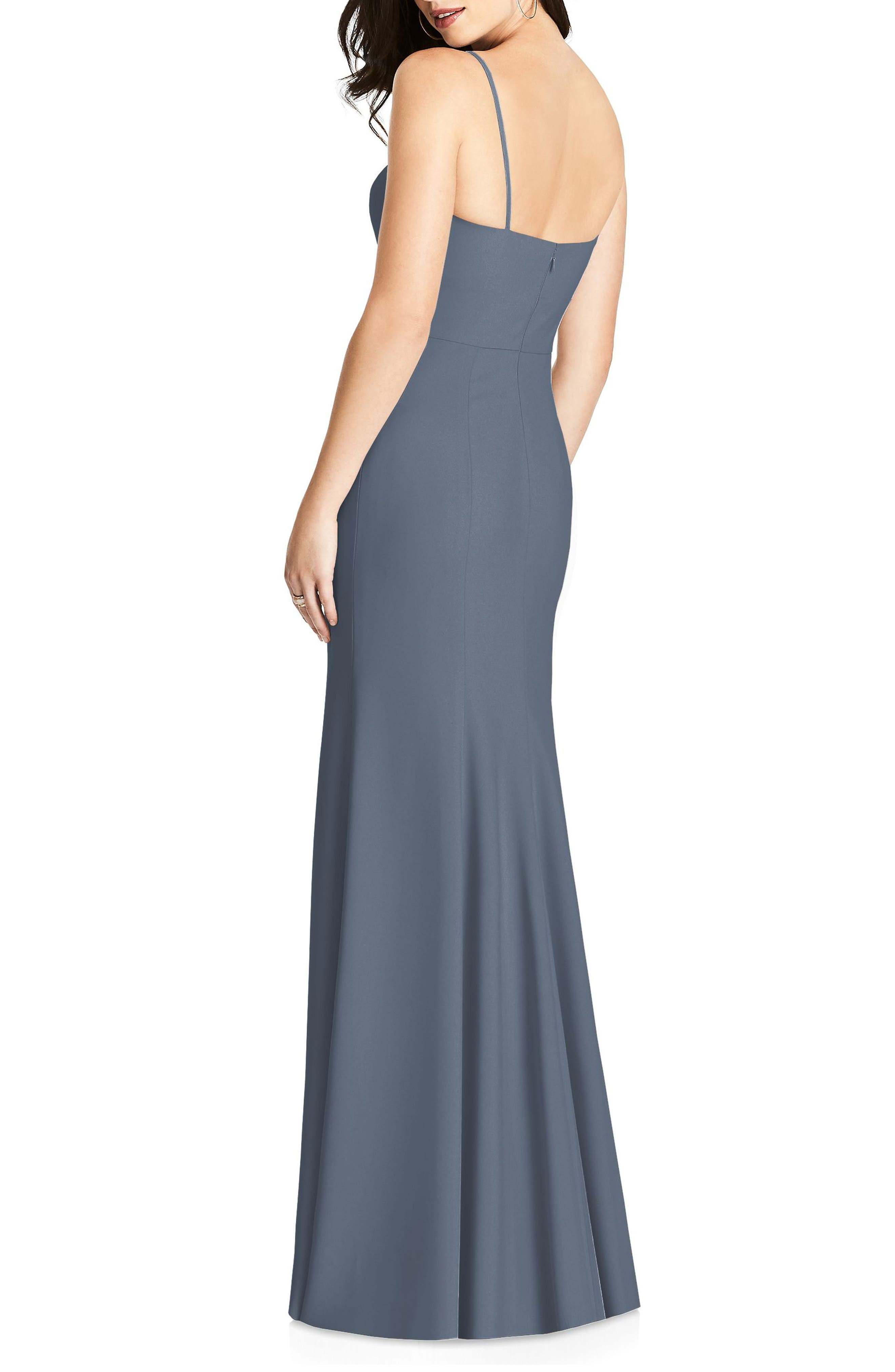DESSY COLLECTION, Crisscross Seam Crepe Gown, Alternate thumbnail 2, color, SILVERSTONE