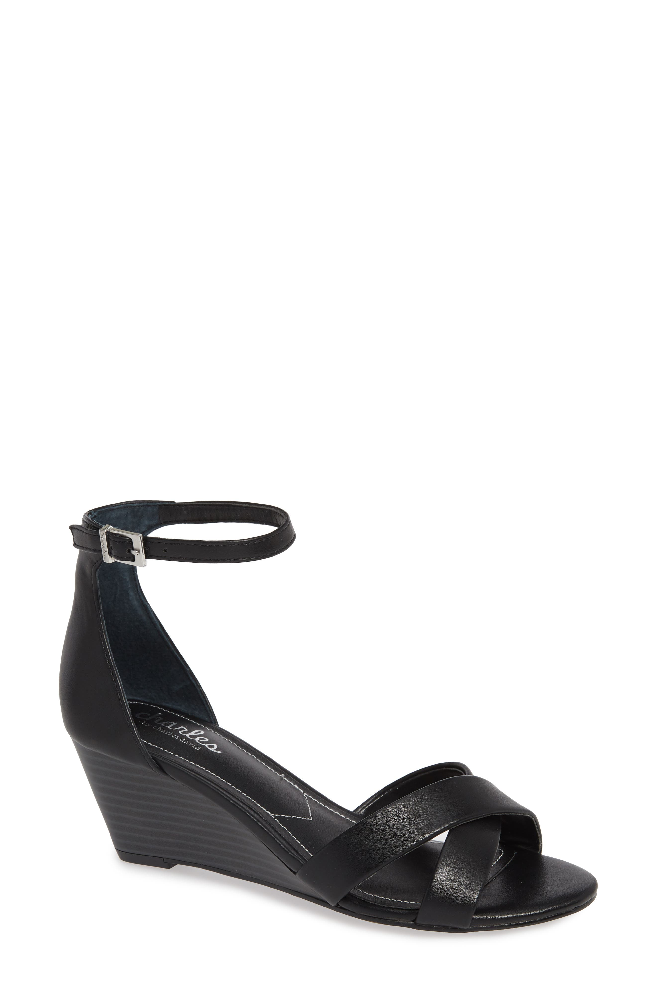 CHARLES BY CHARLES DAVID, Griffin Ankle Strap Wedge, Main thumbnail 1, color, BLACK FAUX LEATHER
