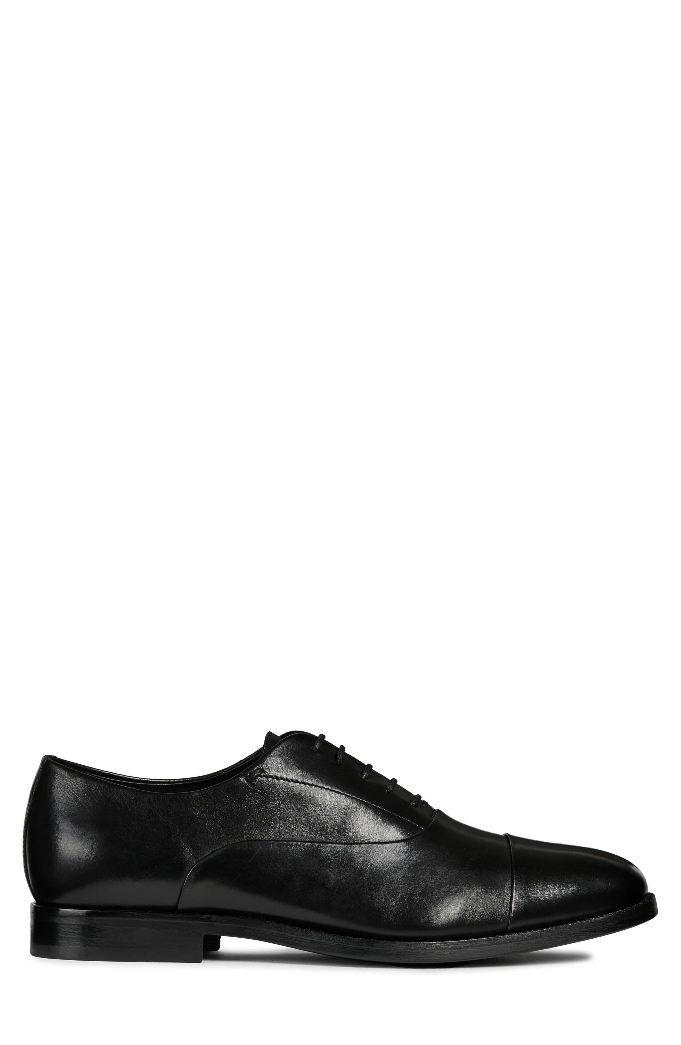 GEOX, Hampstead Cap Toe Oxford, Alternate thumbnail 3, color, BLACK