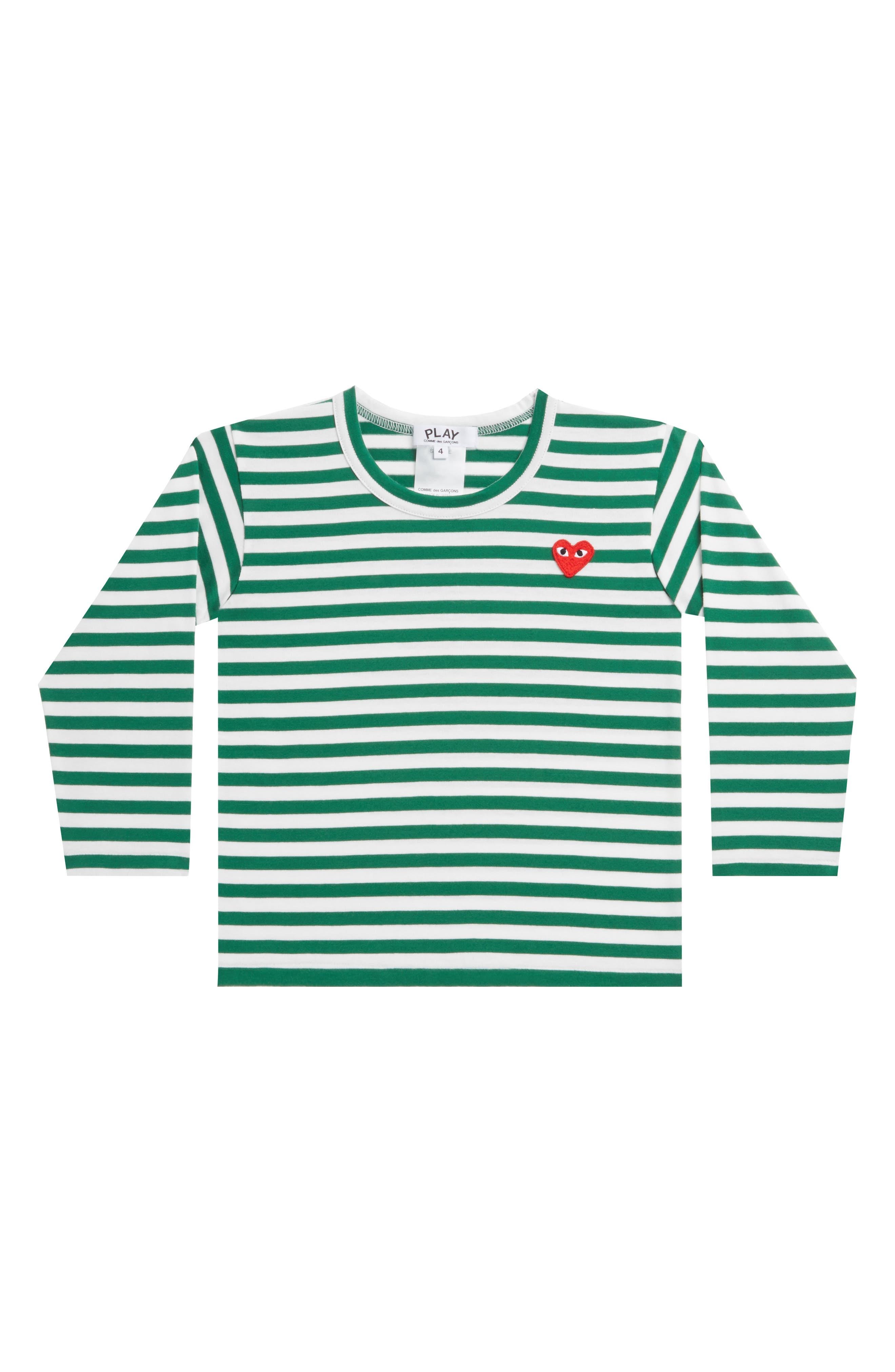 COMME DES GARÇONS PLAY, Stripe T-Shirt, Main thumbnail 1, color, GREEN