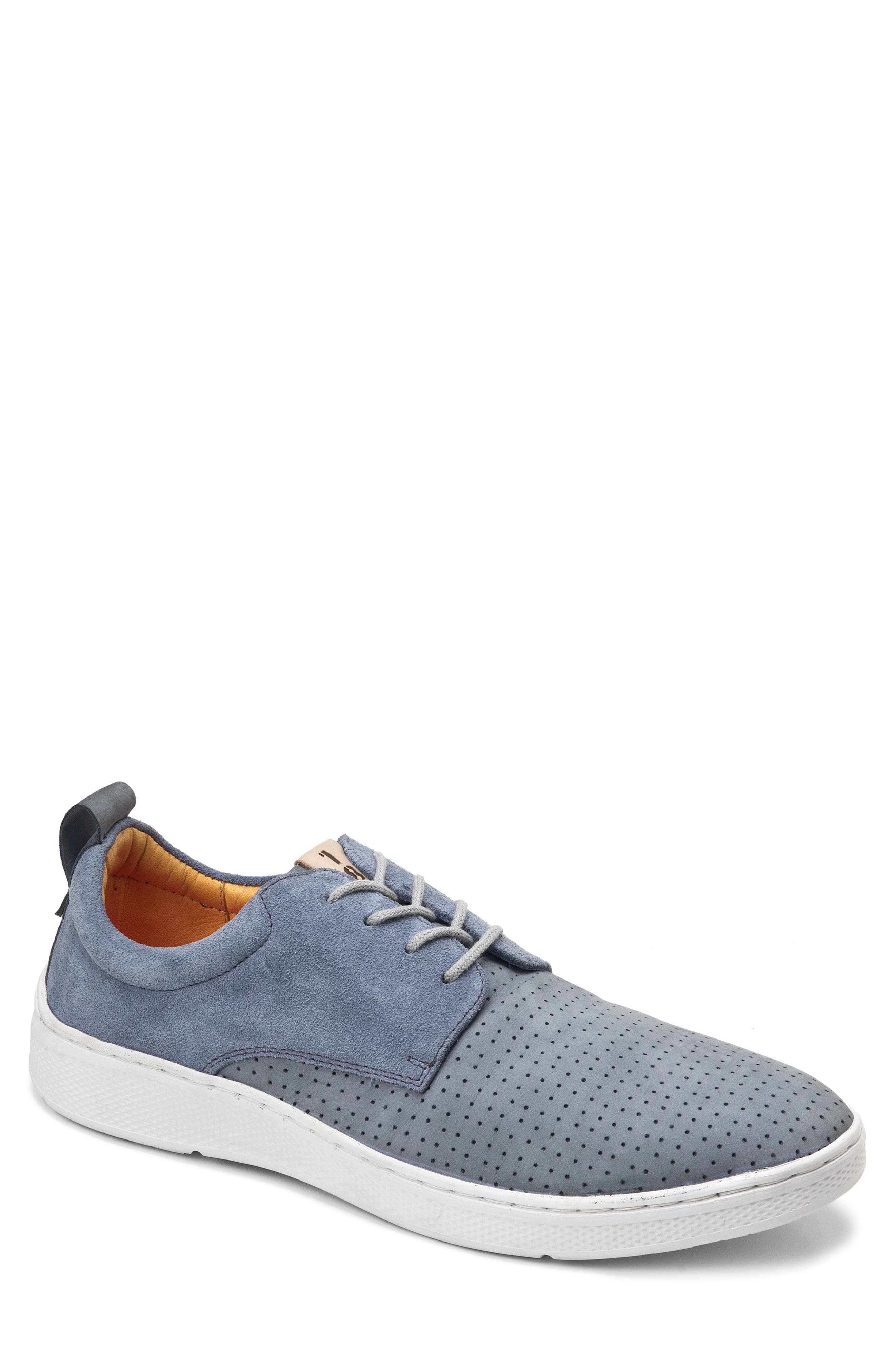 SANDRO MOSCOLONI, Mack Perforated Derby, Main thumbnail 1, color, GREY LEATHER
