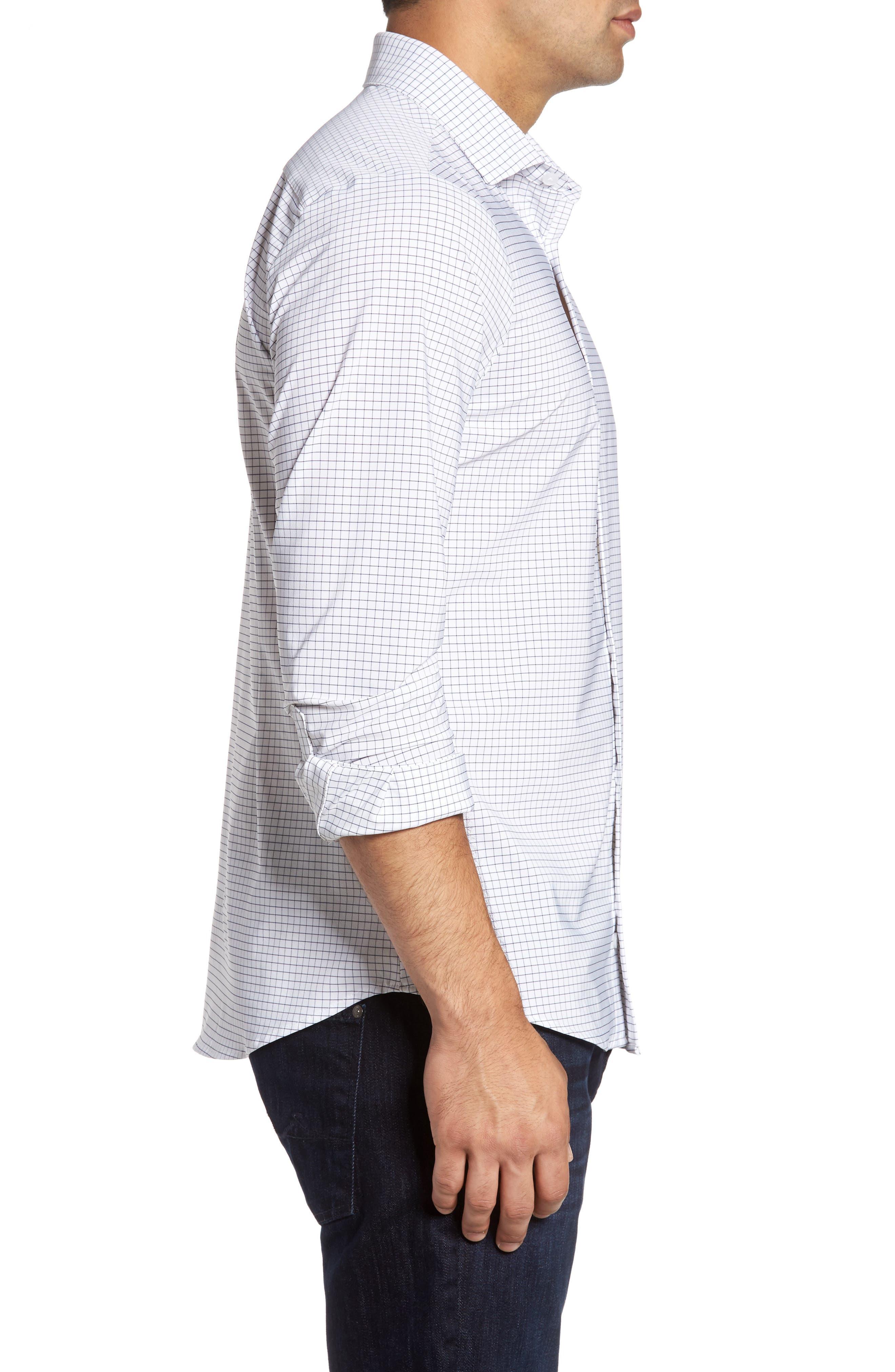 MIZZEN+MAIN, Kennedy Trim Fit Windowpane Sport Shirt, Alternate thumbnail 3, color, WHITE