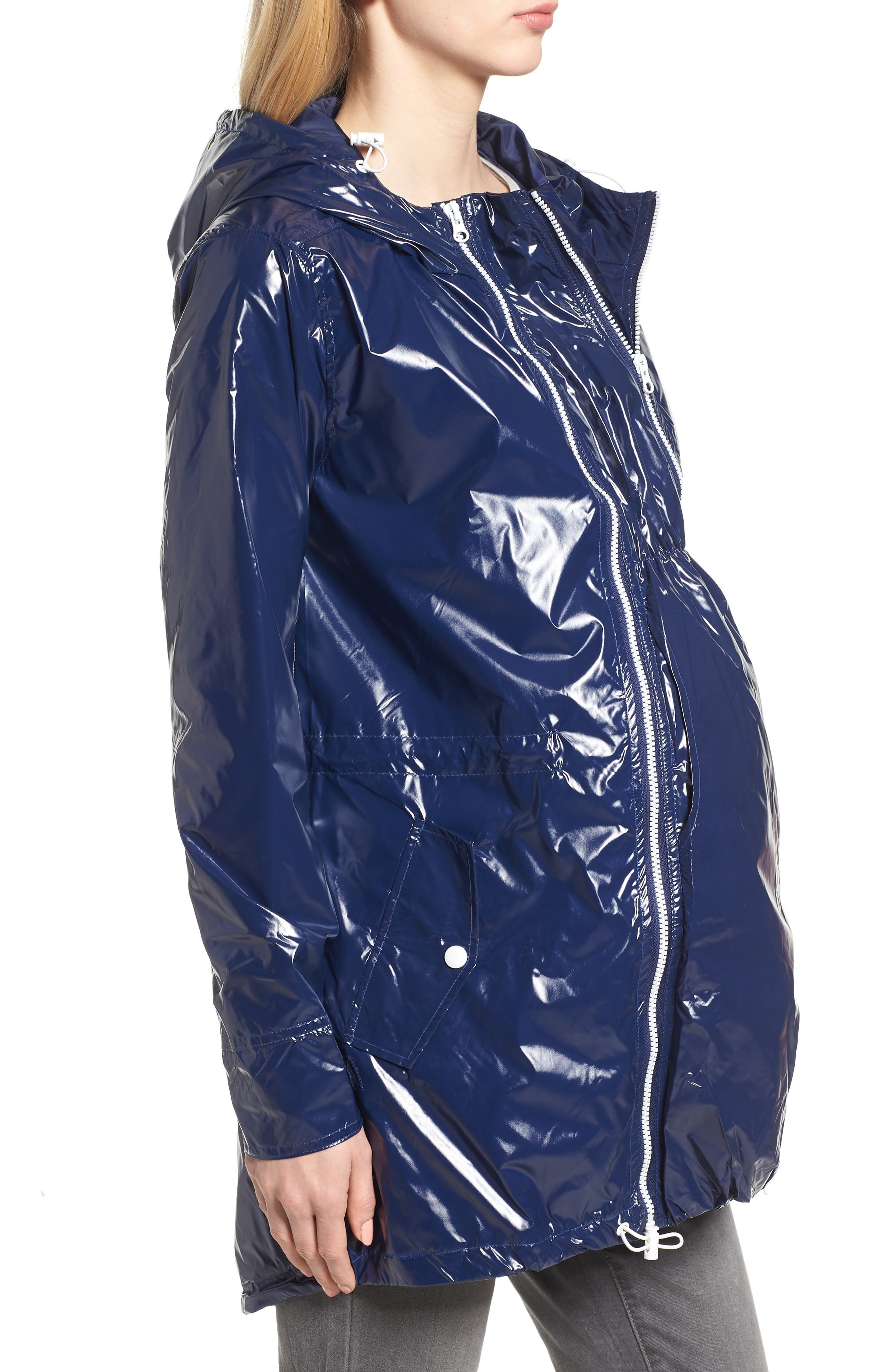 MODERN ETERNITY, Waterproof Convertible 3-in-1 Maternity Raincoat, Alternate thumbnail 4, color, BRIGHT NAVY