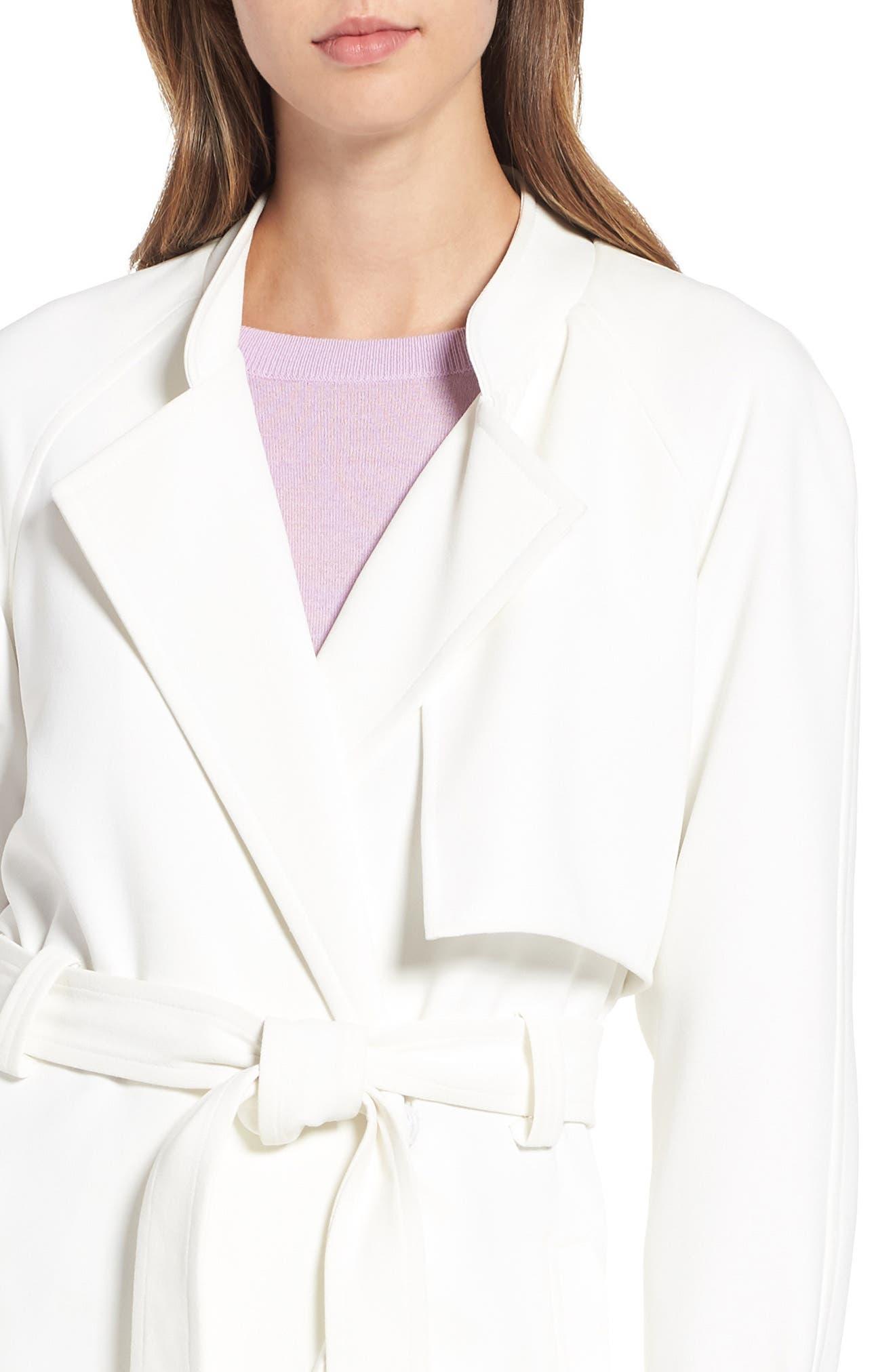 RACHEL RACHEL ROY, Luxe Crepe Trench Coat, Alternate thumbnail 4, color, WHITE