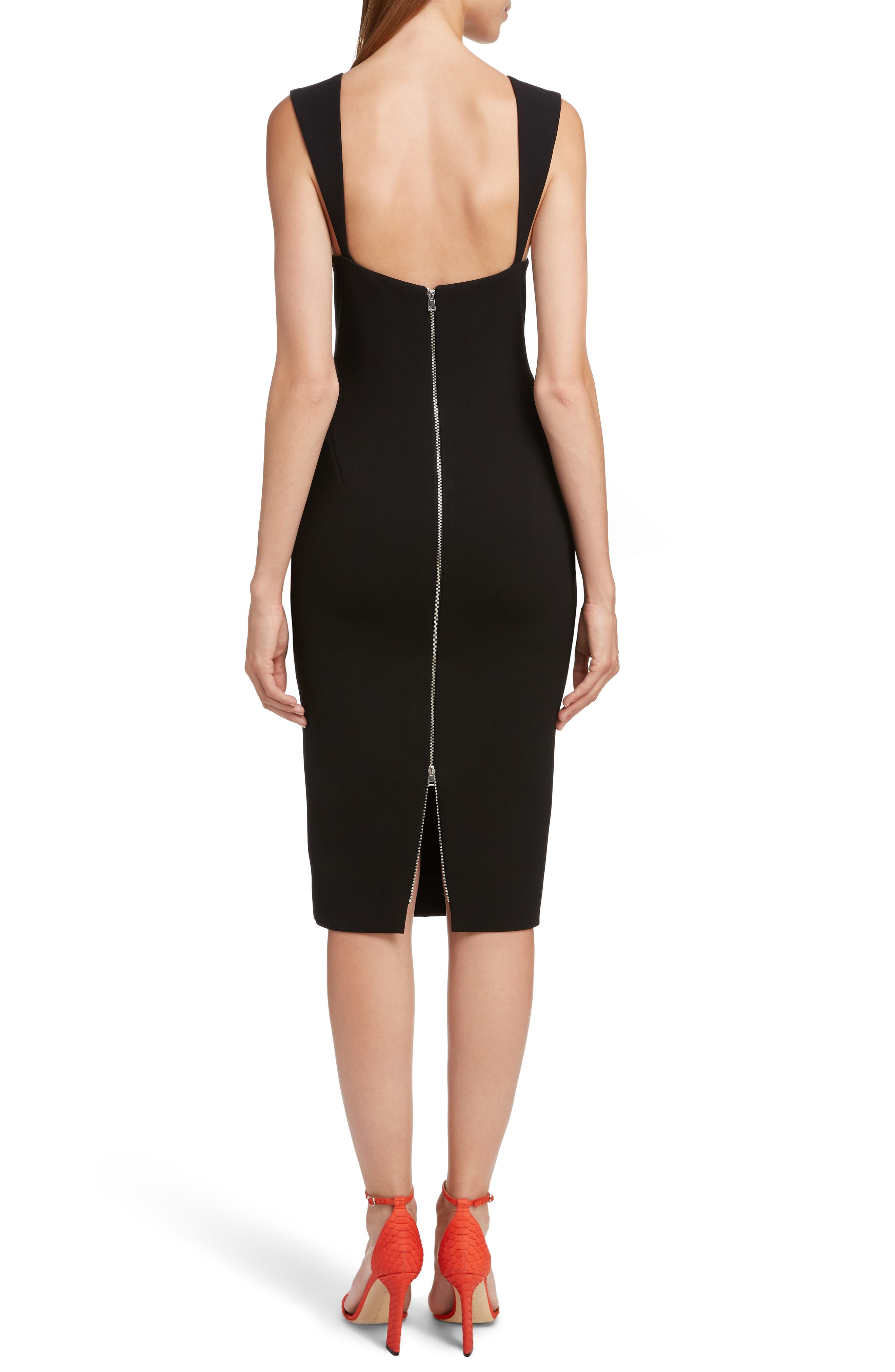 VICTORIA BECKHAM, Sweetheart Neck Body-Con Dress, Alternate thumbnail 2, color, BLACK