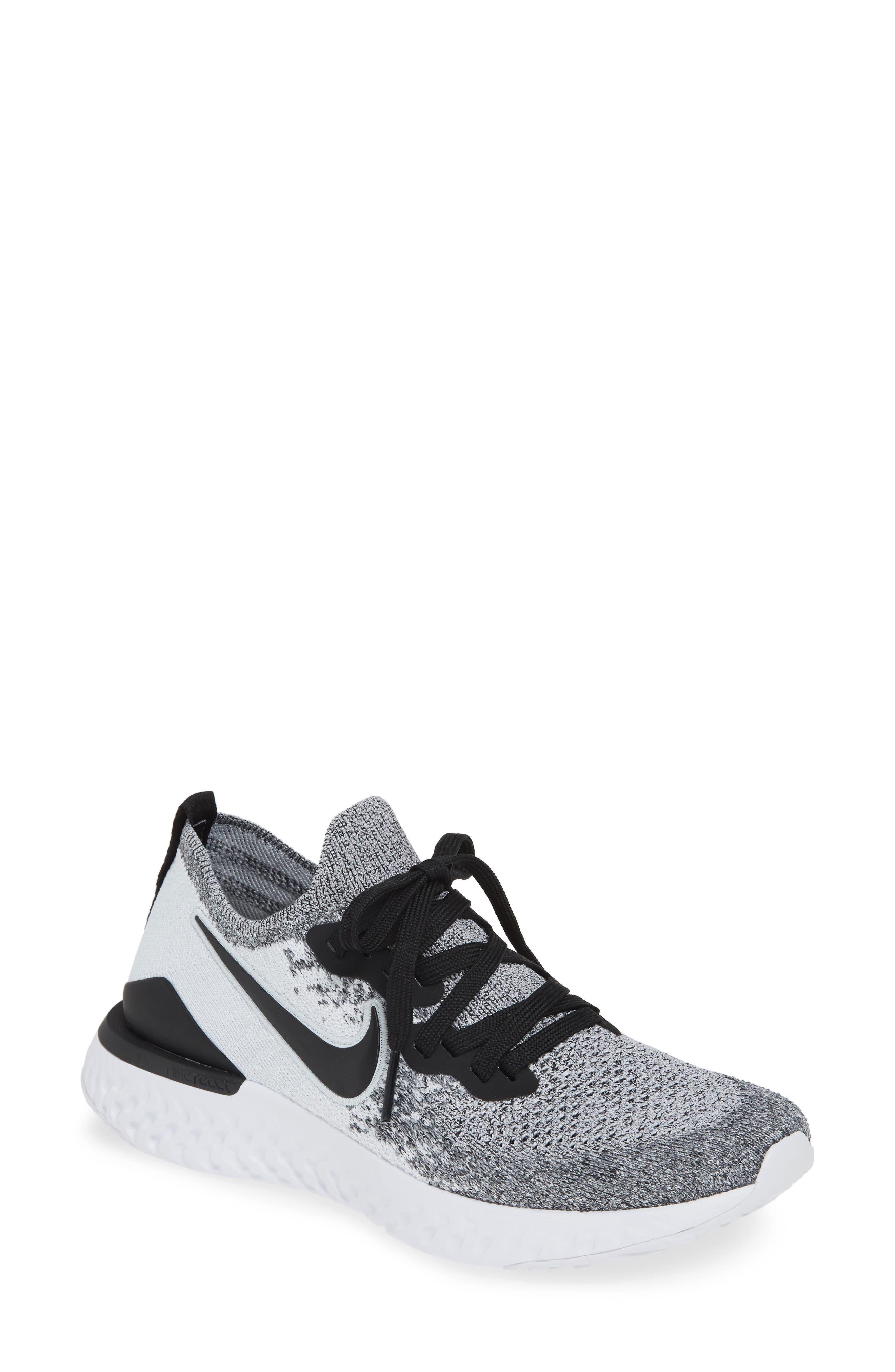 NIKE, Epic React Flyknit 2 Running Shoe, Main thumbnail 1, color, WHITE/ BLACK/ PURE PLATINUM