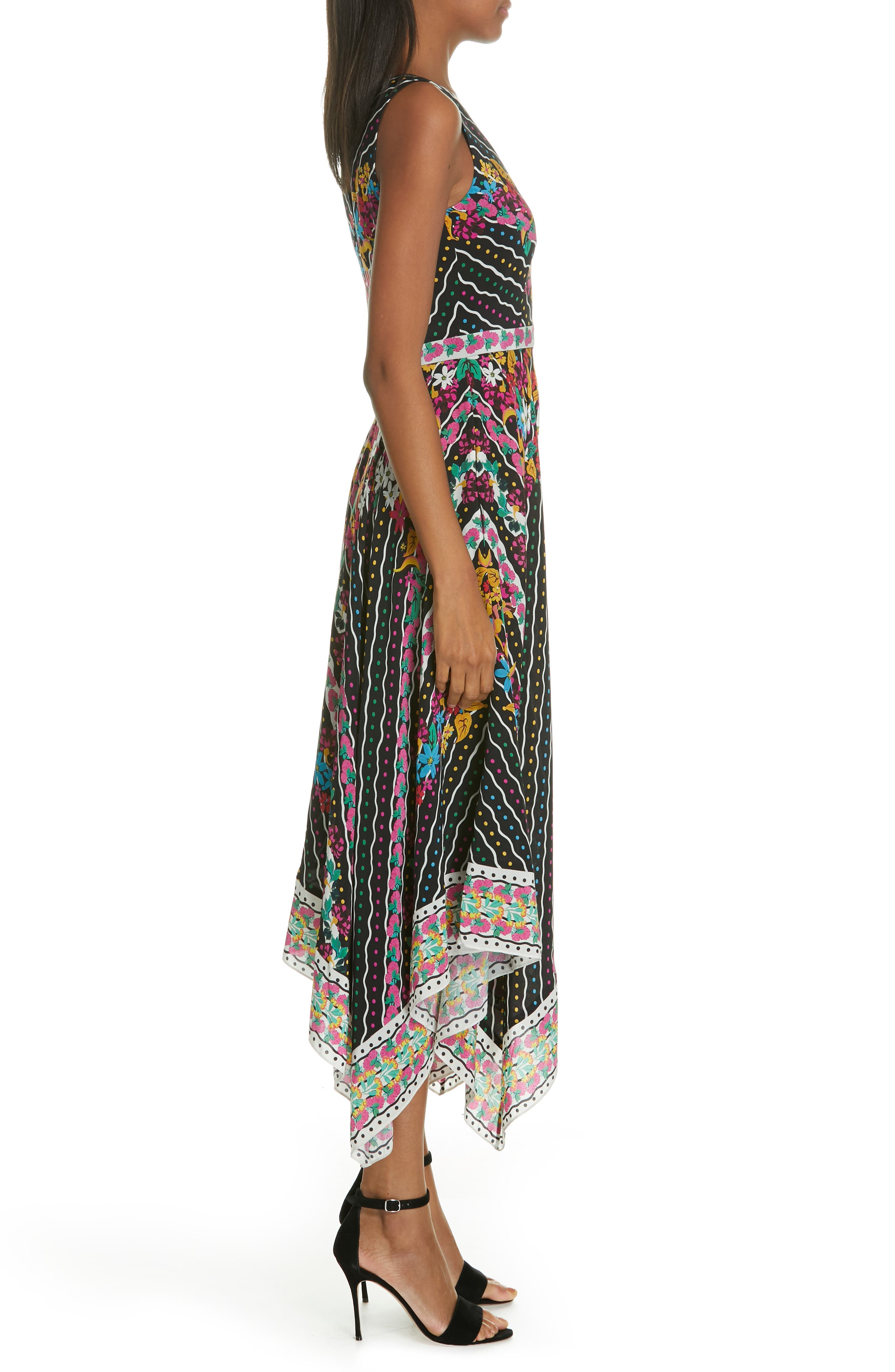 SALONI, Zuri Floral Print Dress, Alternate thumbnail 3, color, 001