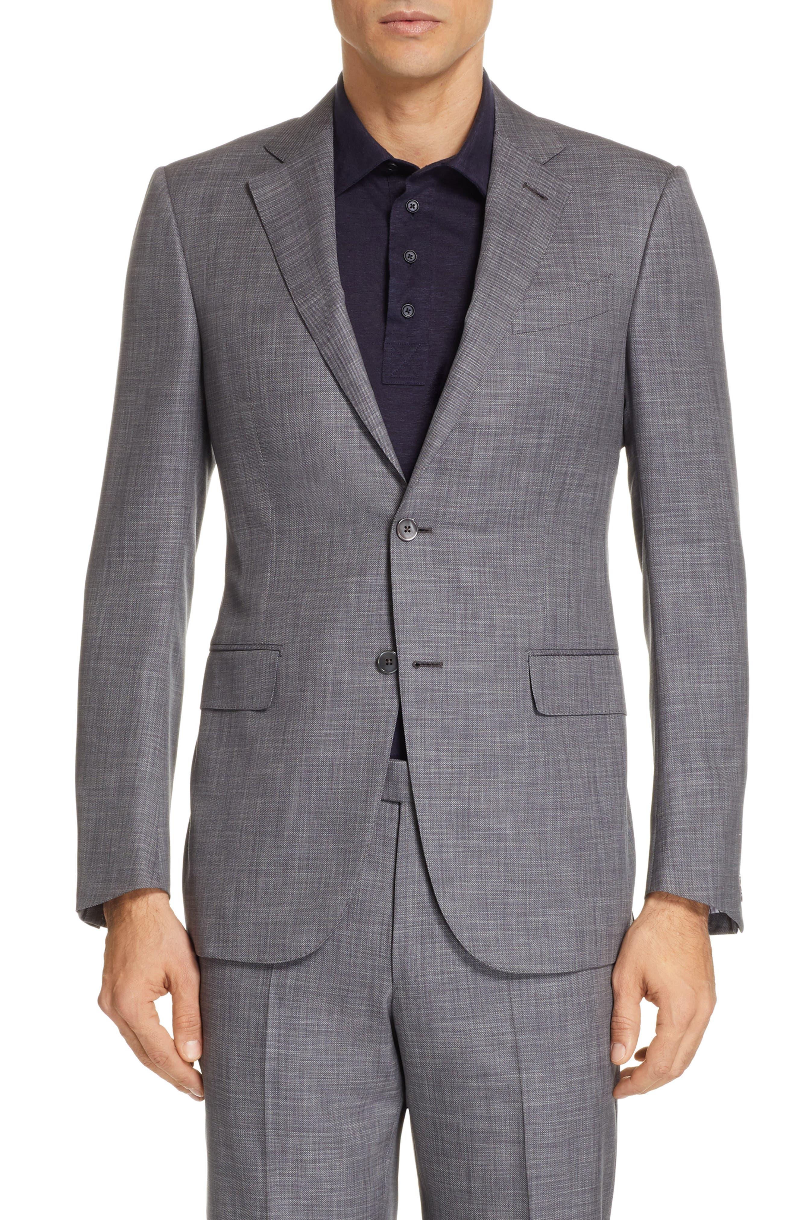 ERMENEGILDO ZEGNA, Milano Trim Fit Solid Wool & Silk Suit, Alternate thumbnail 5, color, GREY