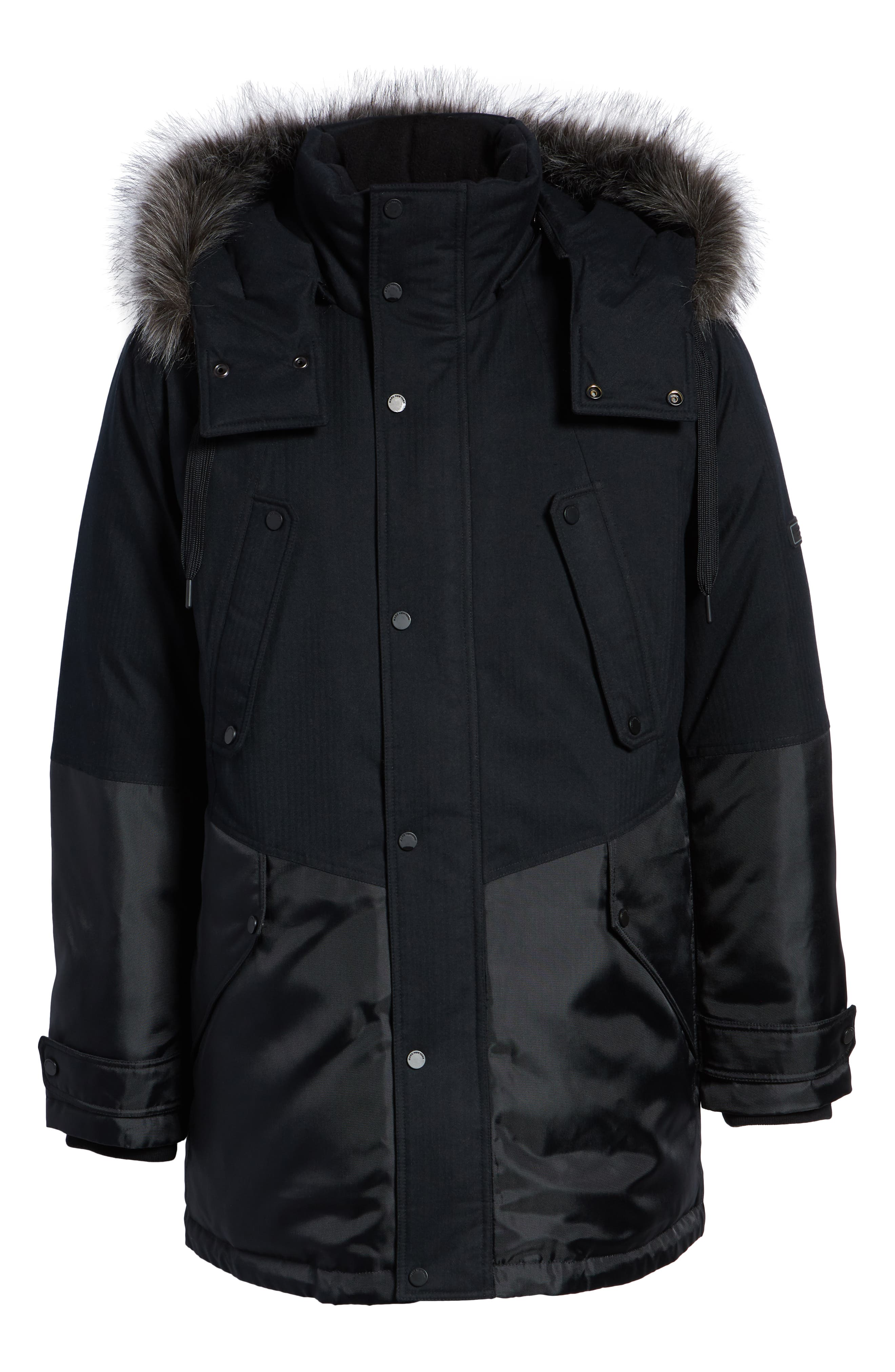 MARC NEW YORK, Maxfield Faux Fur Trim Parka, Alternate thumbnail 6, color, BLACK