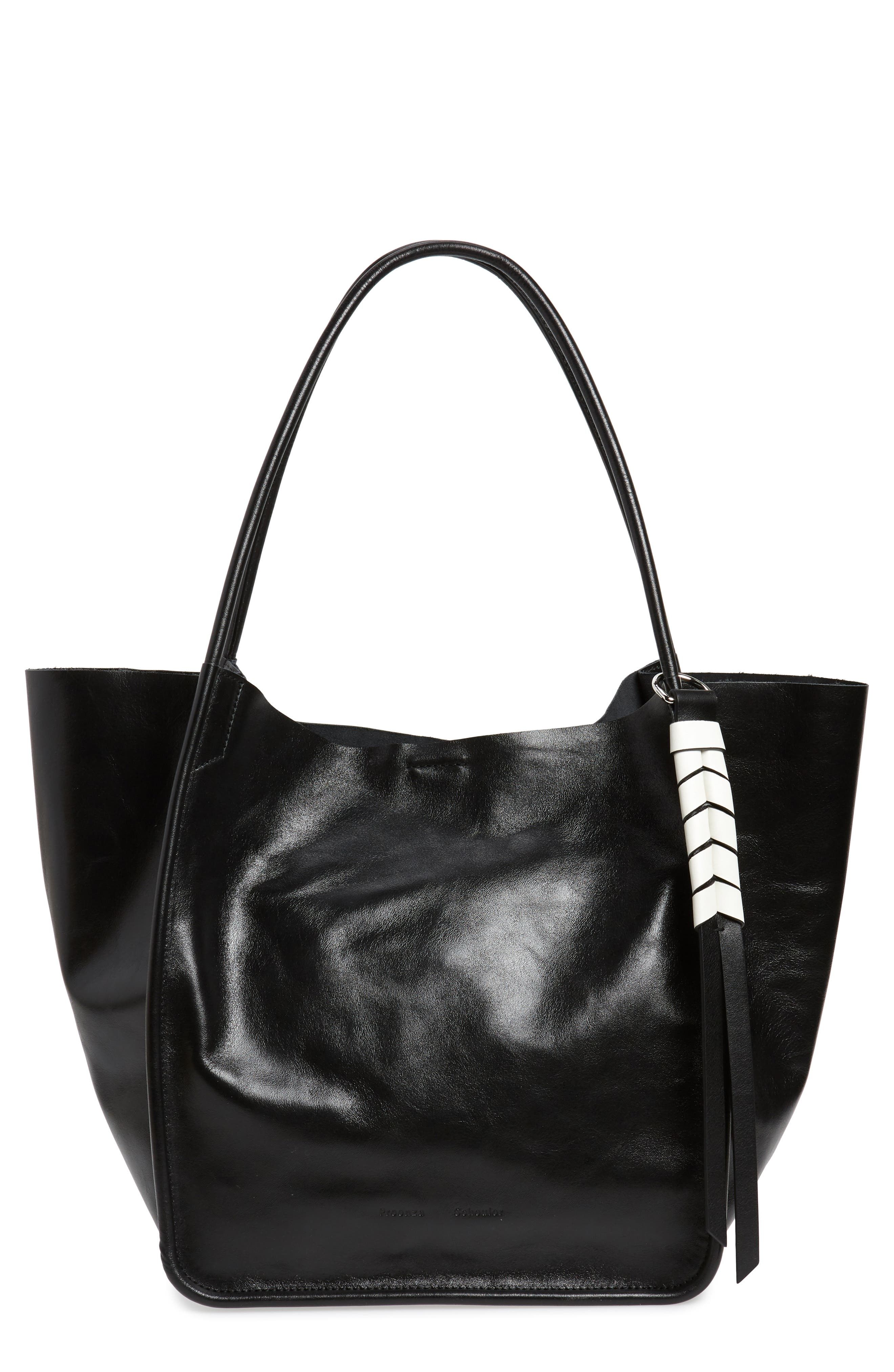 PROENZA SCHOULER, Large Calfskin Leather Tote, Main thumbnail 1, color, BLACK