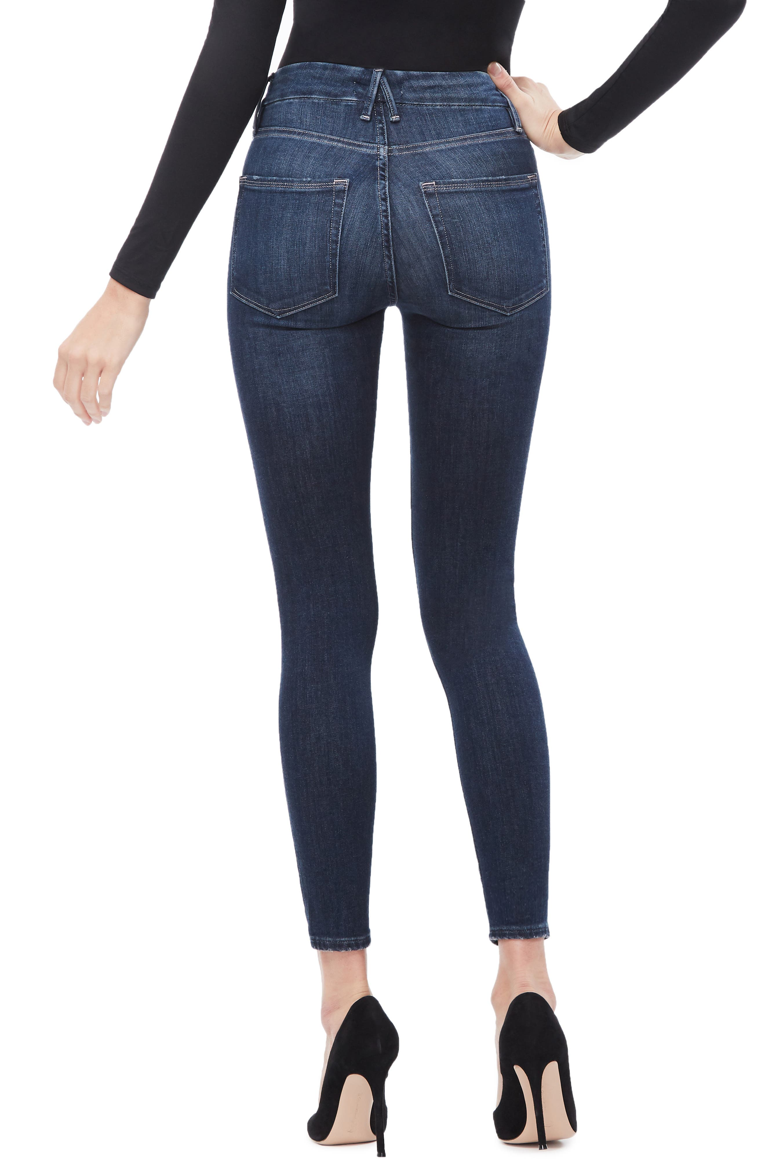 GOOD AMERICAN, Good Legs Ankle Skinny Jeans, Alternate thumbnail 4, color, BLUE260