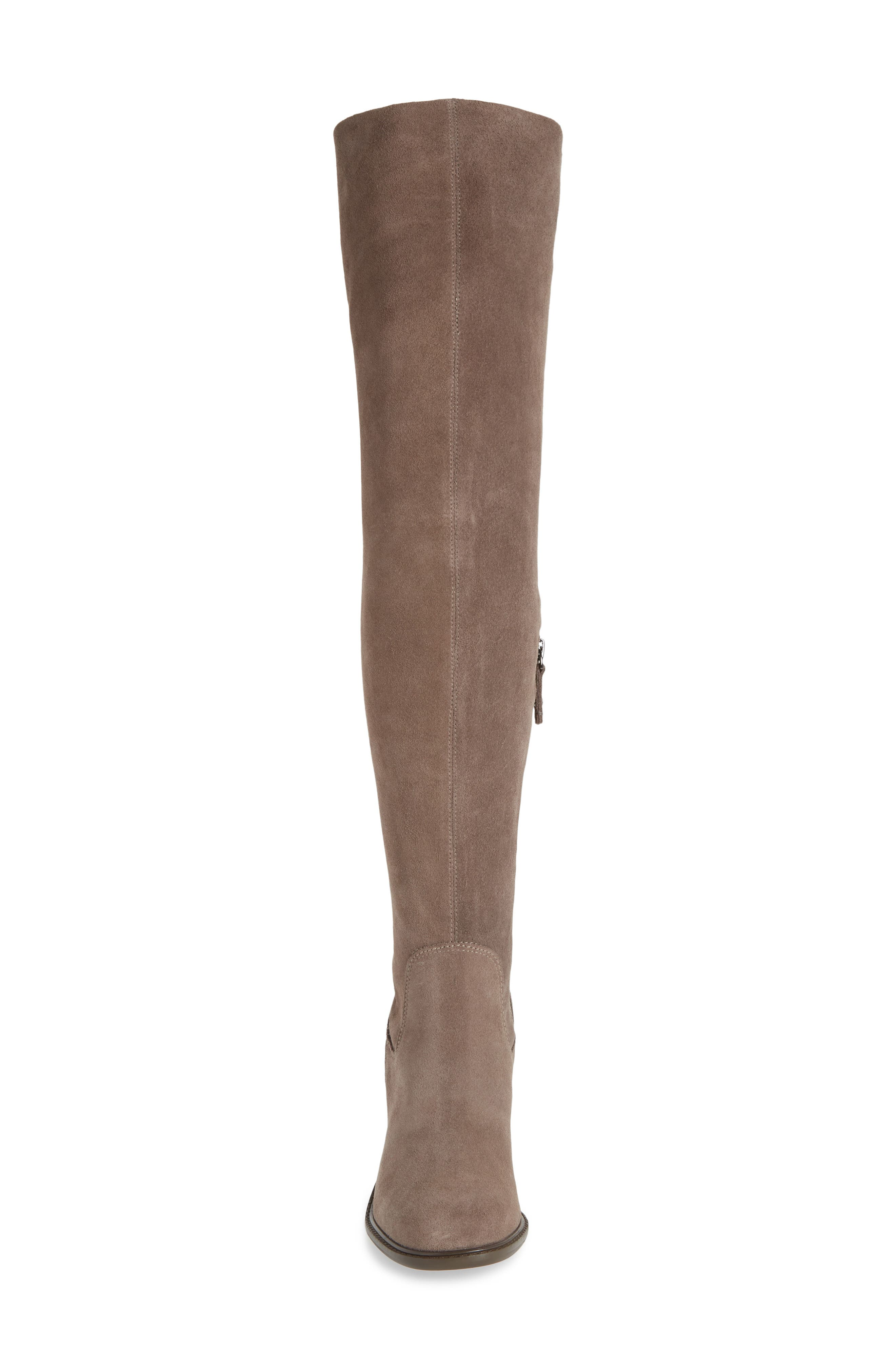 KELSI DAGGER BROOKLYN, Logan Over the Knee Boot, Alternate thumbnail 4, color, WARM GREY SUEDE