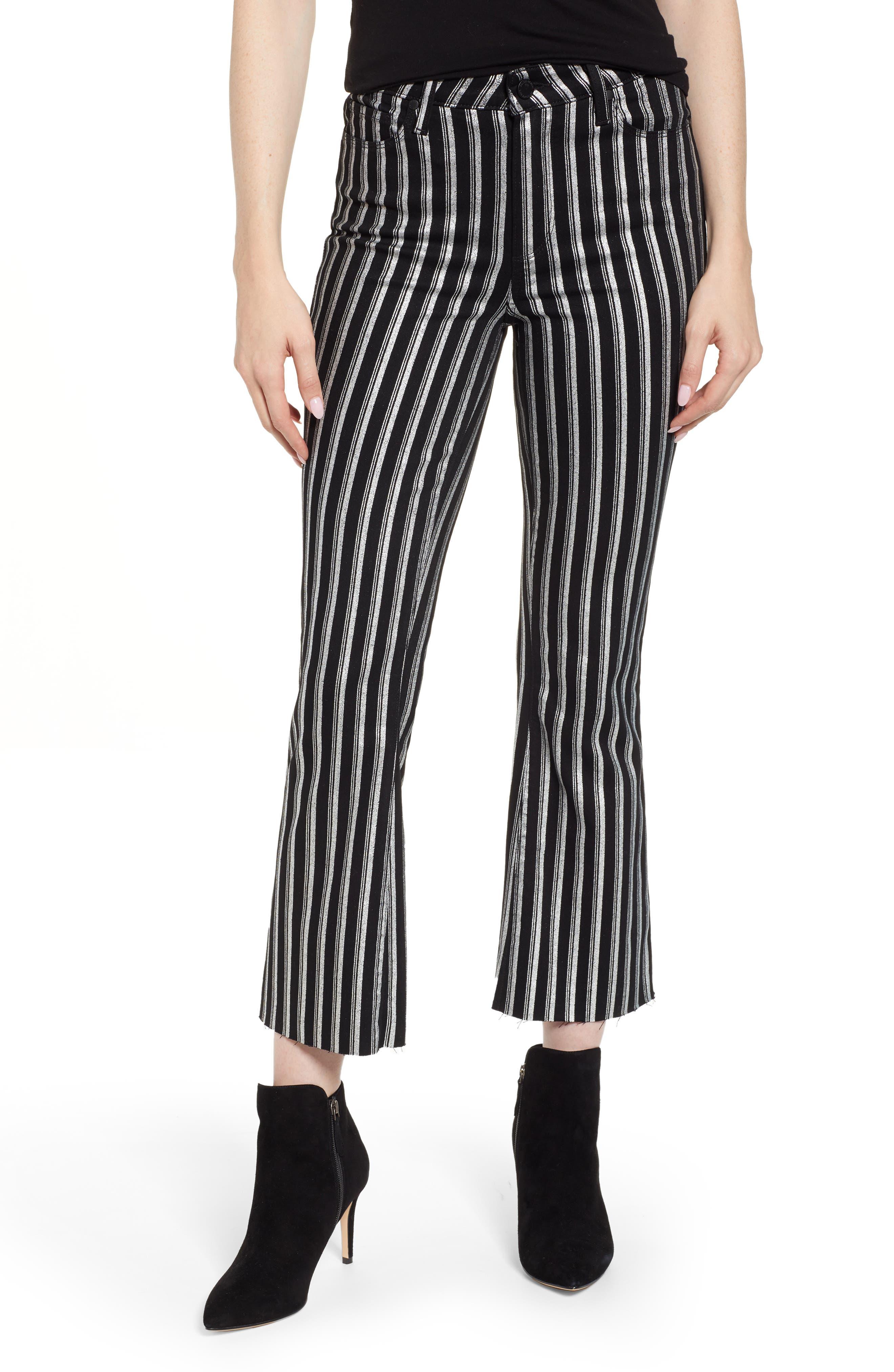 PAIGE Colette High Waist Crop Flare Jeans, Main, color, SILVER STRIPE