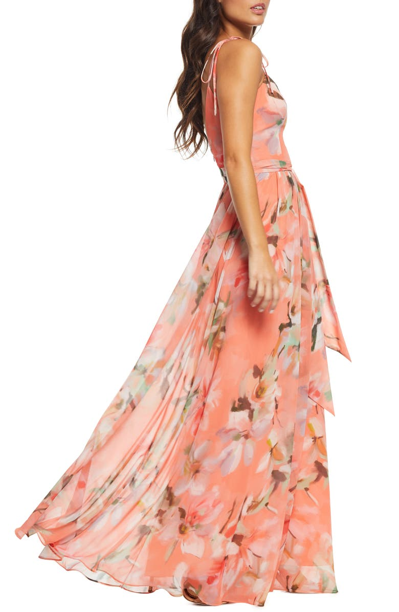 714ec27819768c Dress The Population Hollie Floral Maxi Dress In Coral/ Pink Watercolor
