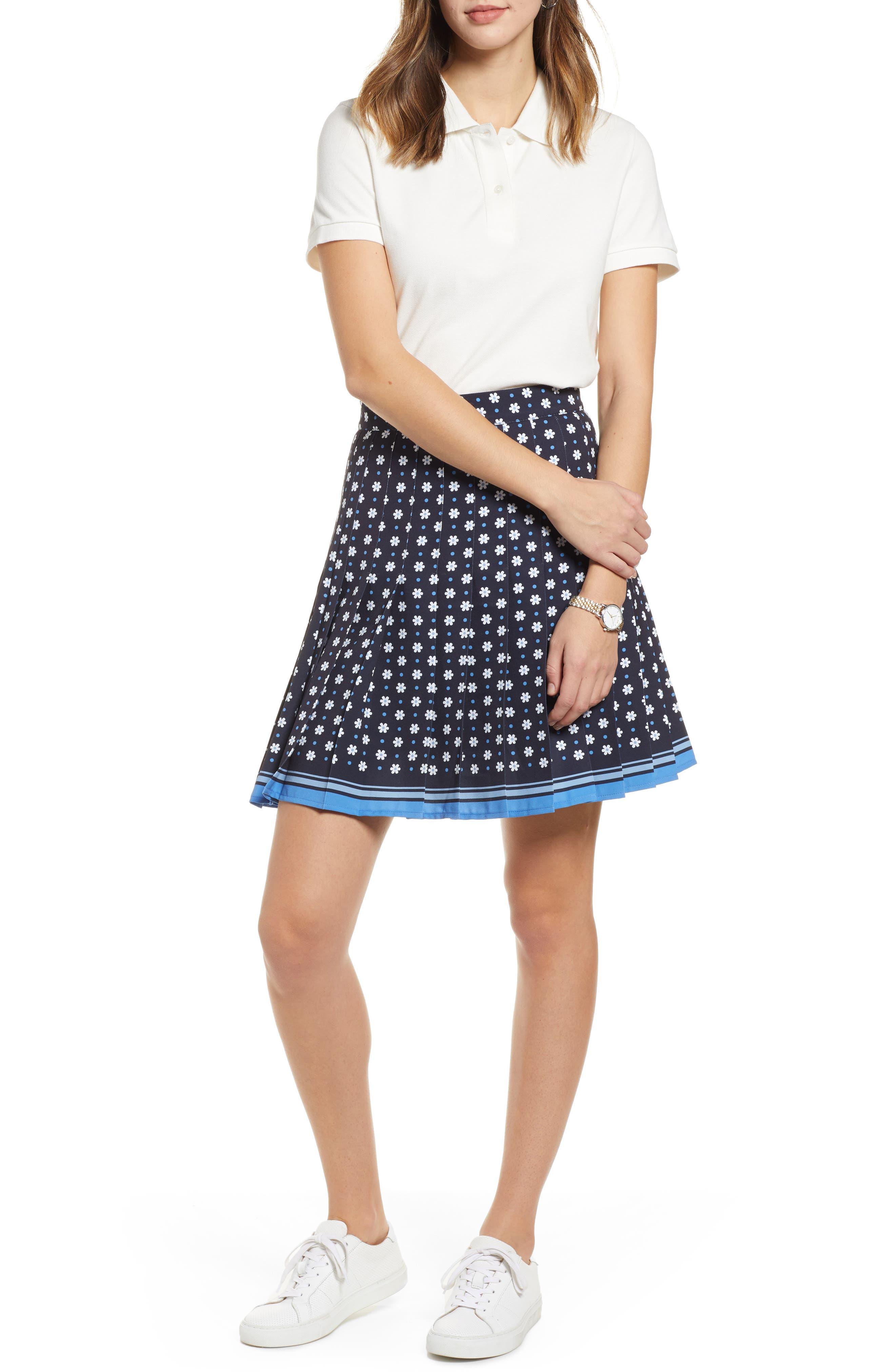 1901, Pleated Tennis Skirt, Alternate thumbnail 7, color, NAVY NIGHT DAISY DOT
