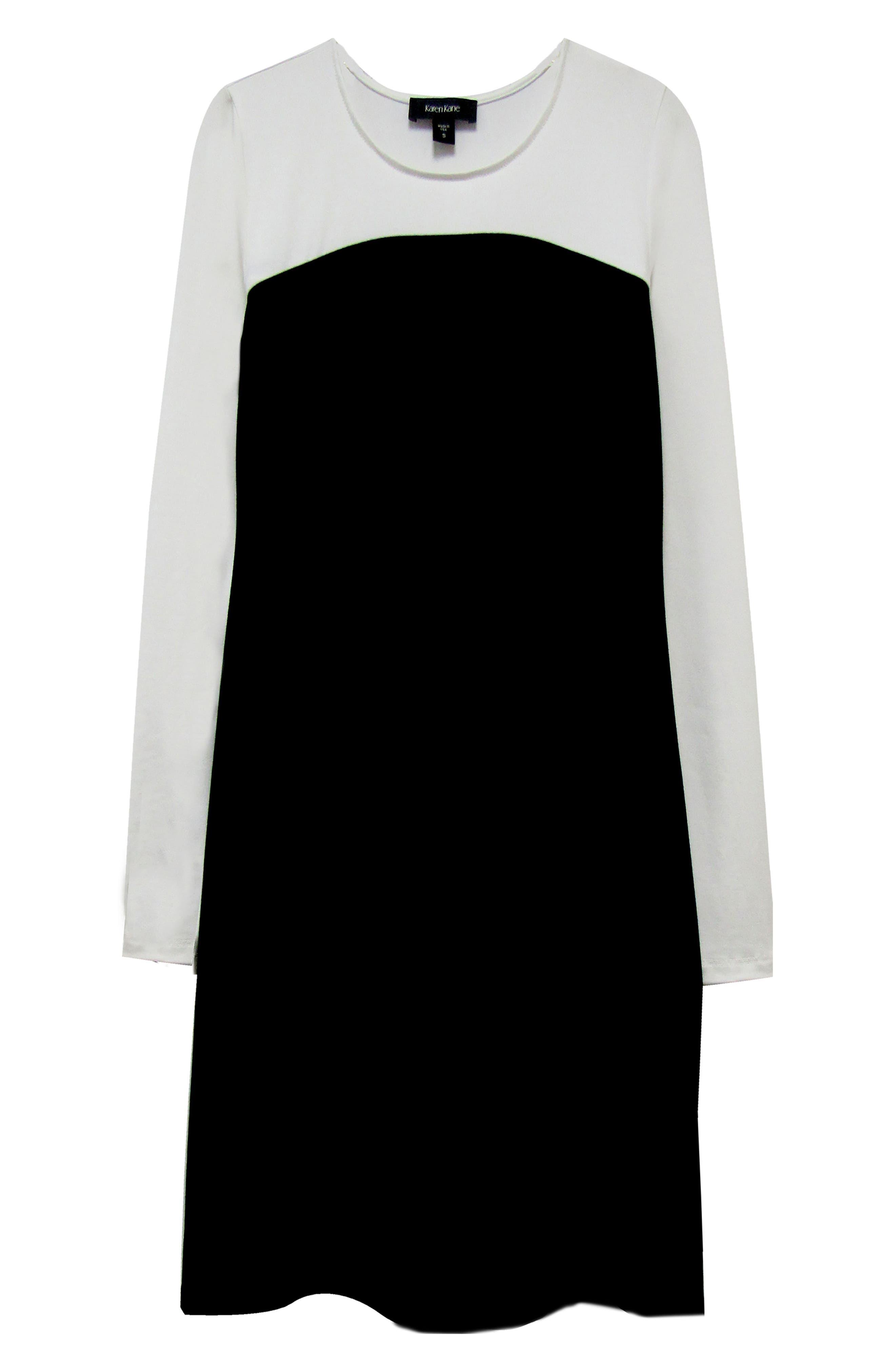 KAREN KANE, Colorblock Sheath Dress, Alternate thumbnail 3, color, BLACK WITH OFF WHITE