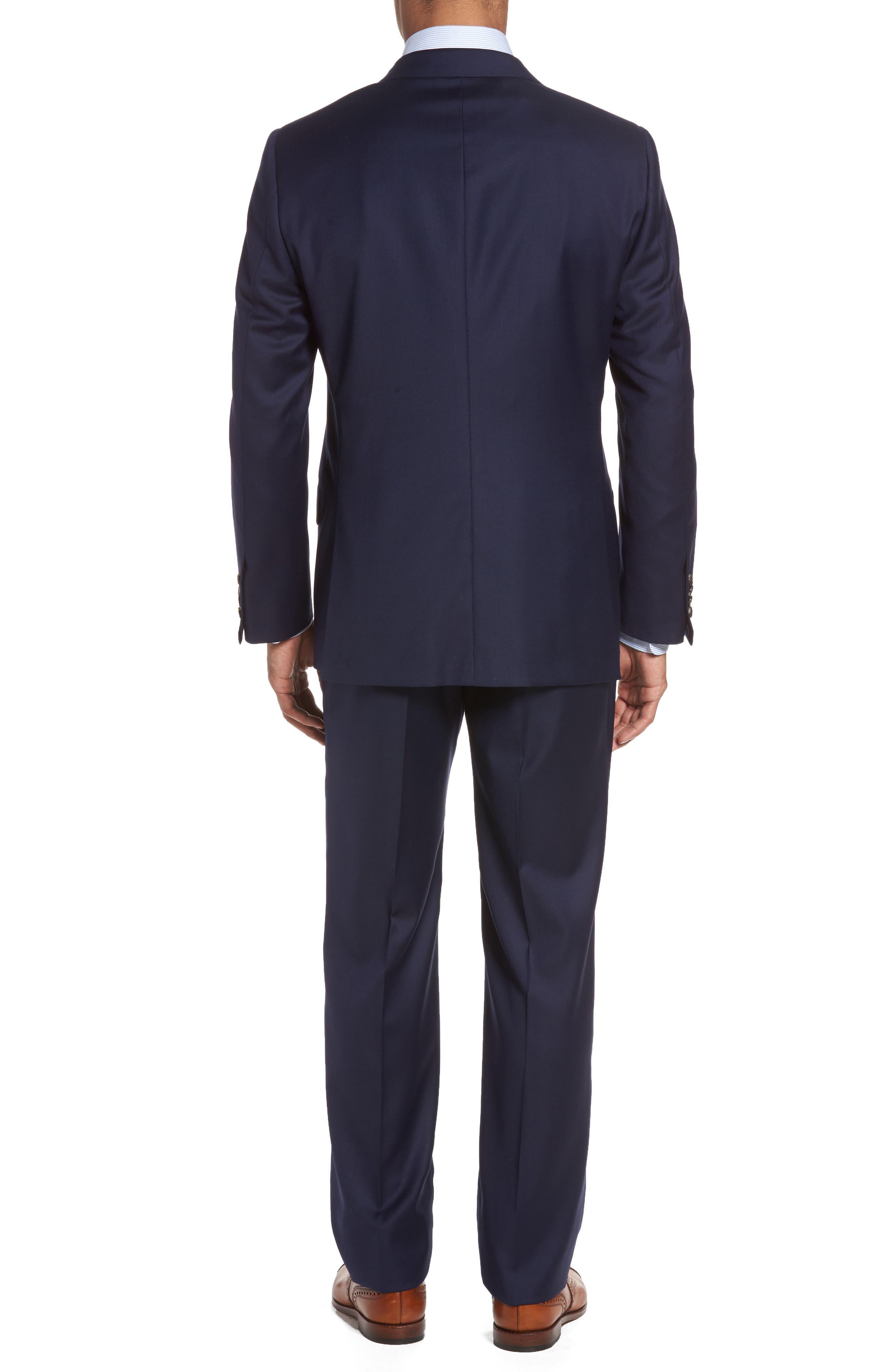 HICKEY FREEMAN, Classic B Fit Loro Piana Wool Suit, Alternate thumbnail 2, color, NAVY