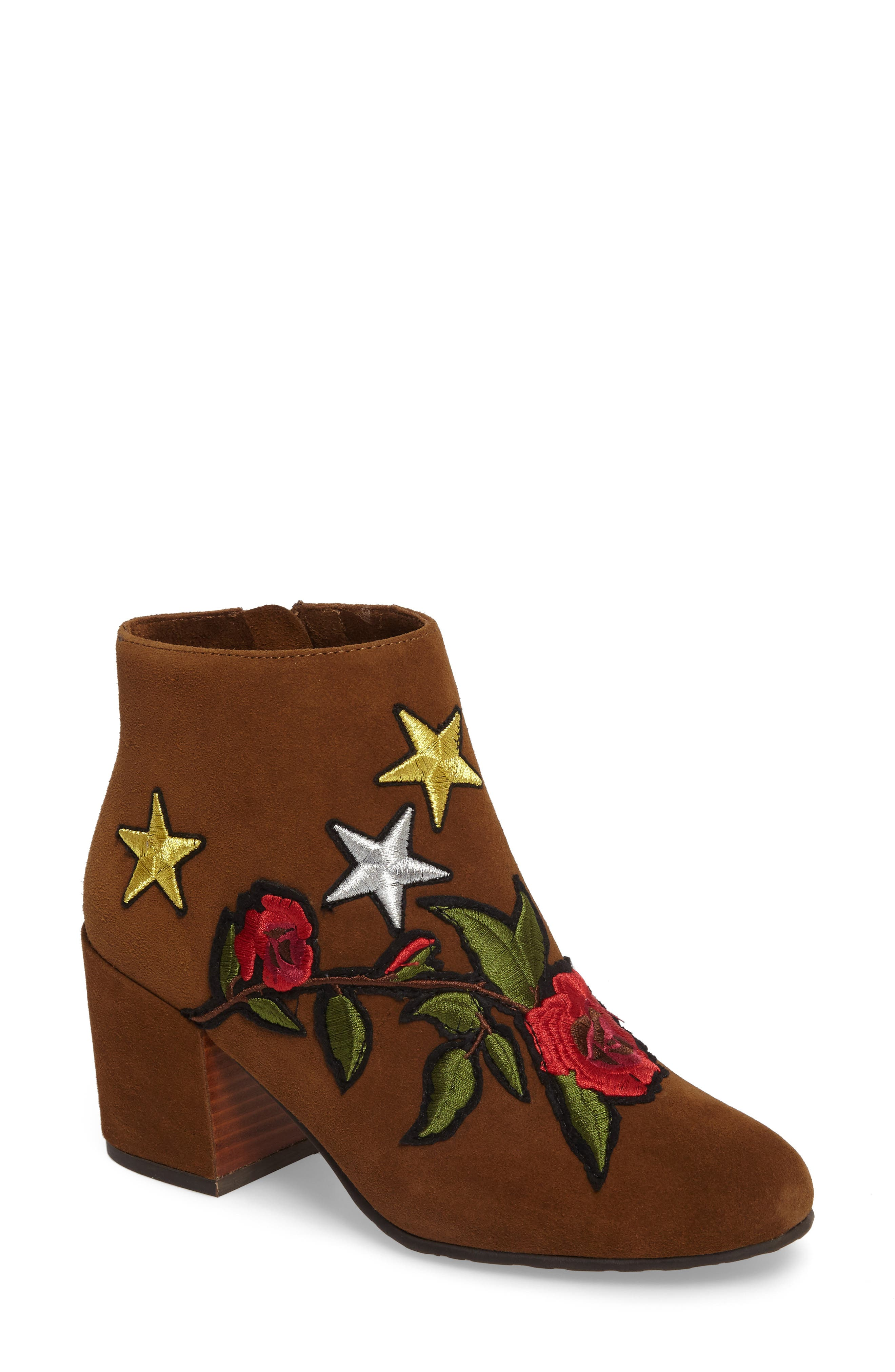 GENTLE SOULS BY KENNETH COLE Blaise Patches Bootie, Main, color, WALNUT SUEDE