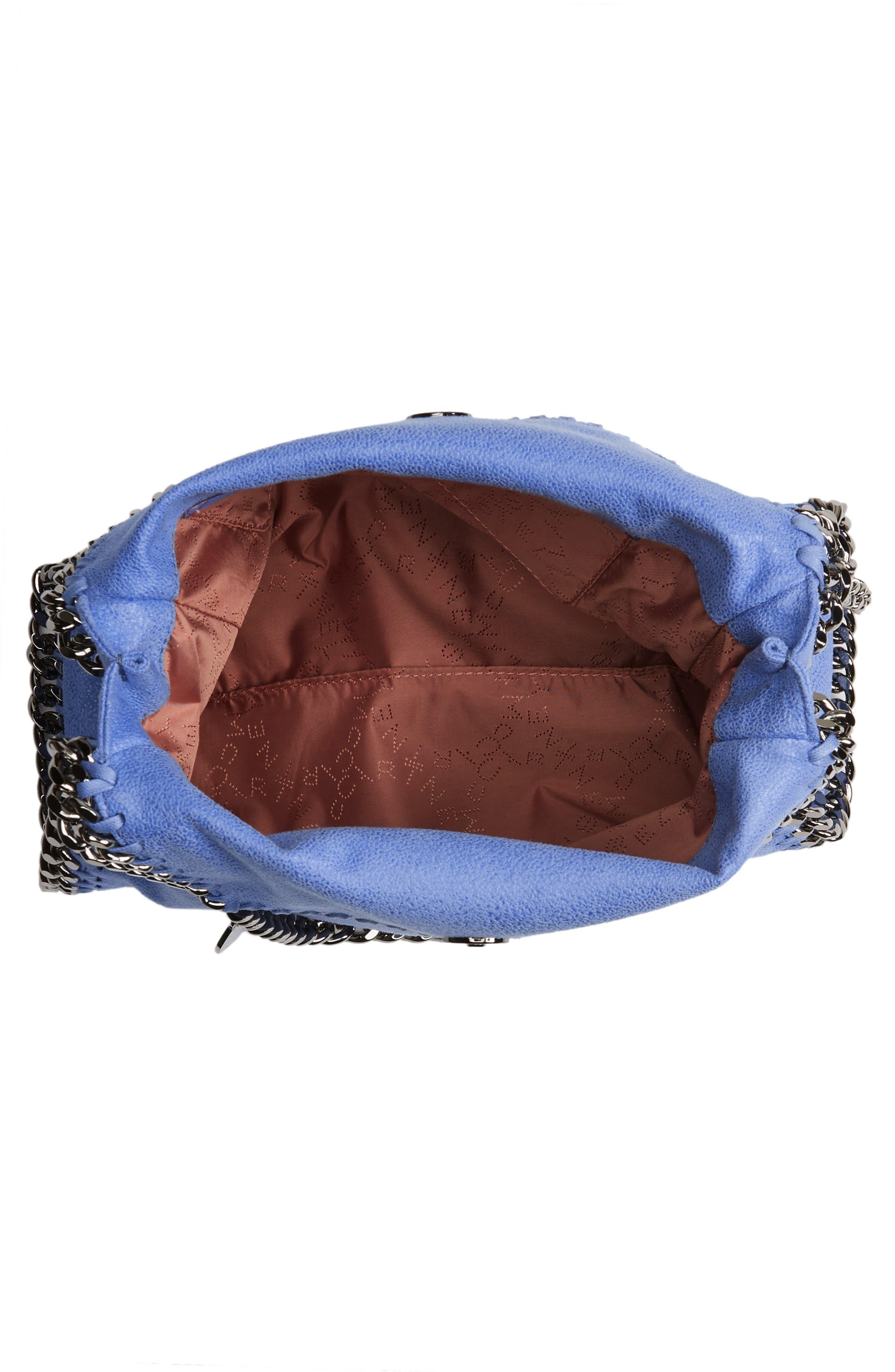 STELLA MCCARTNEY, 'Mini Falabella - Shaggy Deer' Faux Leather Tote, Alternate thumbnail 4, color, CERULEAN