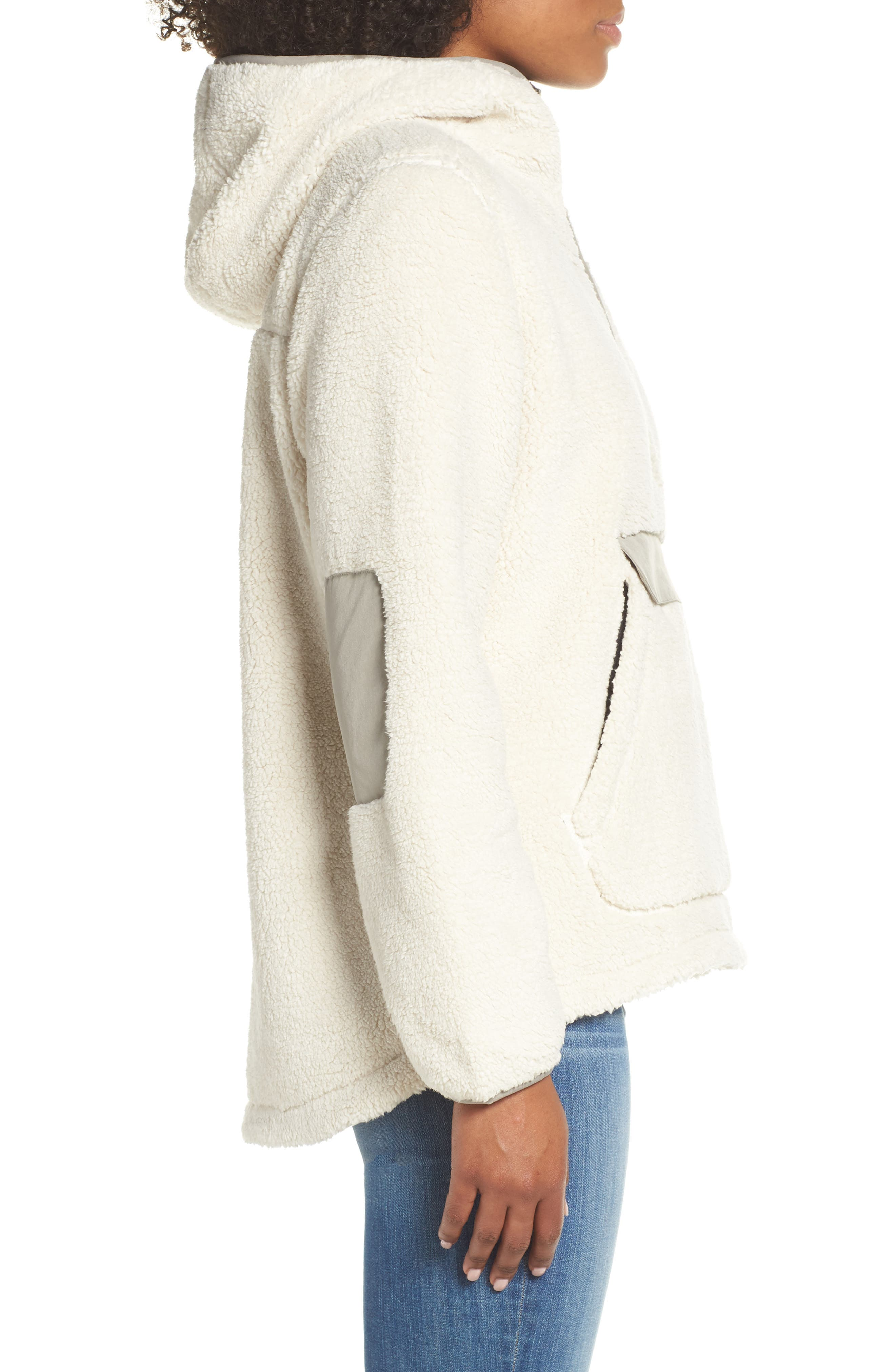 THE NORTH FACE, Campshire High Pile Fleece Pullover Hoodie, Alternate thumbnail 4, color, VINTAGE WHITE/ GREY
