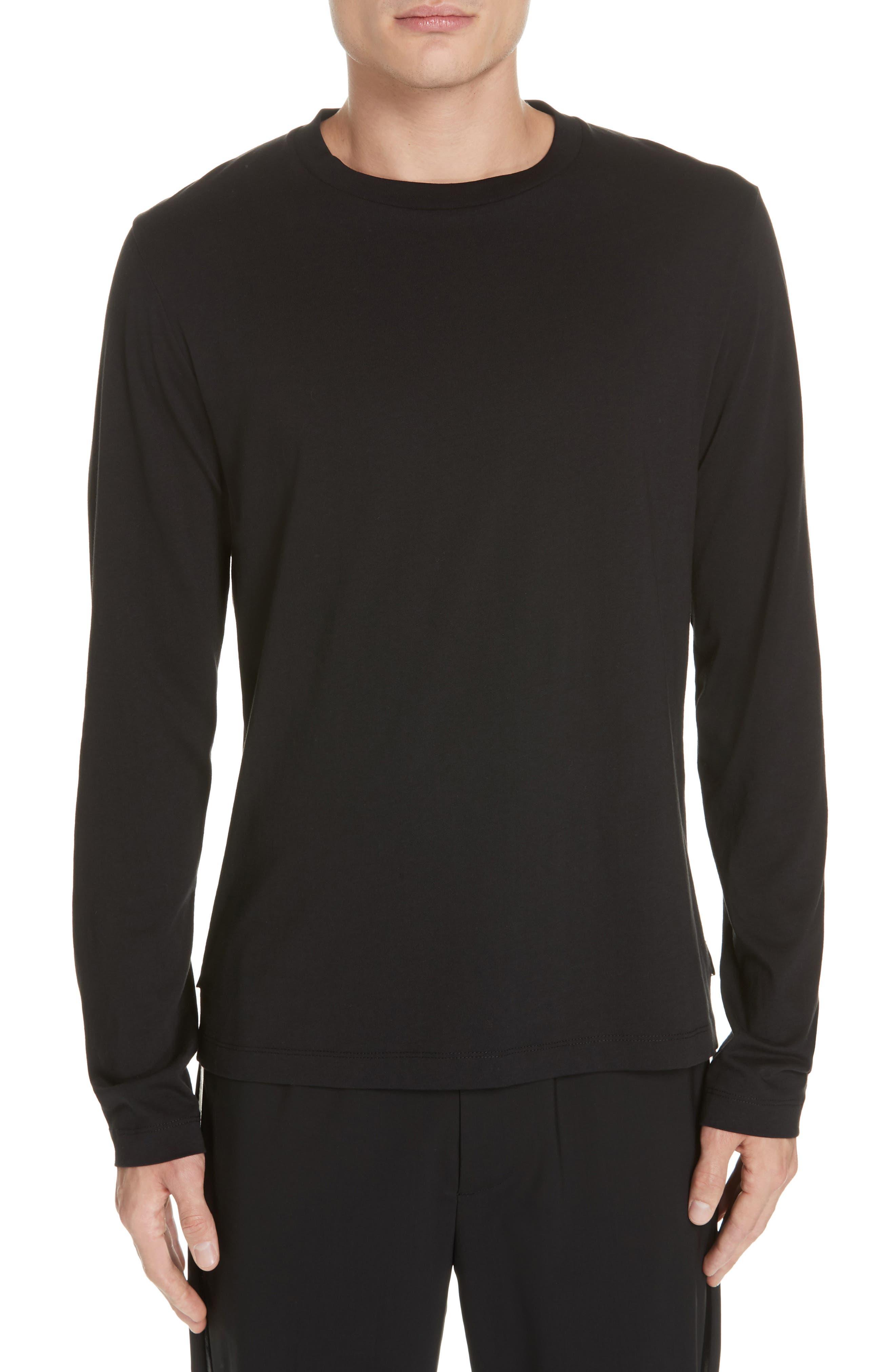 HELMUT LANG, Overlay Long Sleeve T-Shirt, Main thumbnail 1, color, BLACK