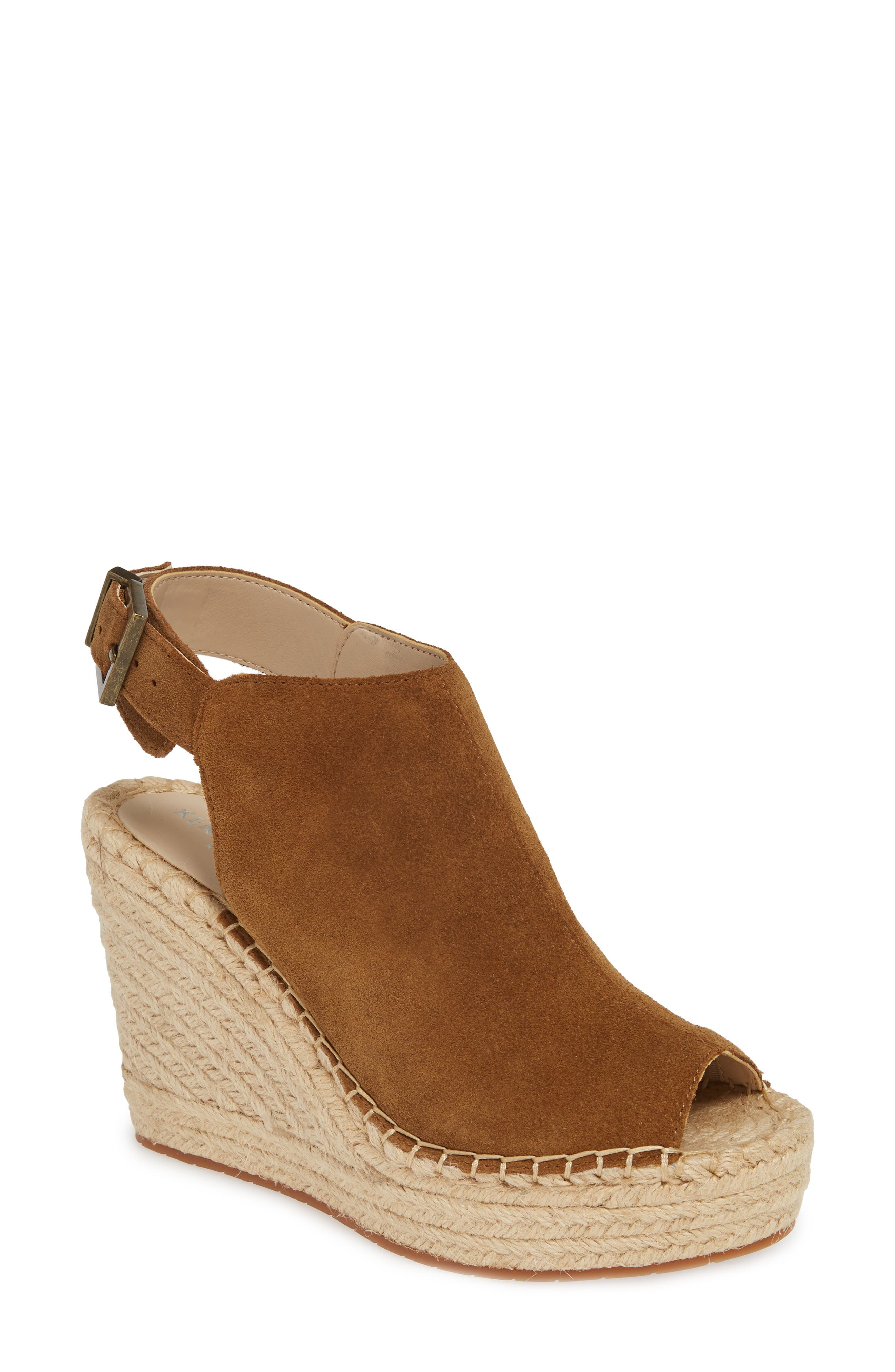 KENNETH COLE NEW YORK, 'Olivia' Espadrille Wedge Sandal, Main thumbnail 1, color, RUST SUEDE