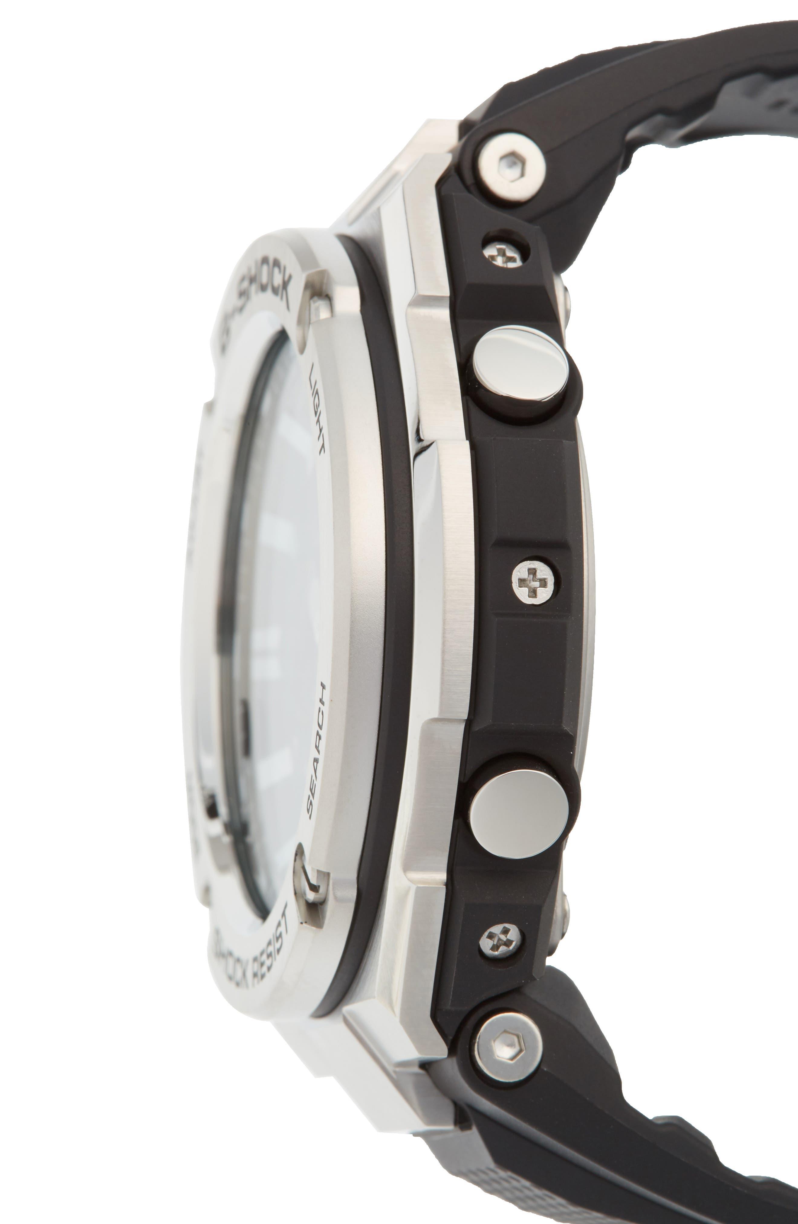 G-SHOCK BABY-G, G-Shock 'G-Steel' Ana-Digi Resin Strap Watch, 59mm x 52mm, Alternate thumbnail 3, color, BLACK