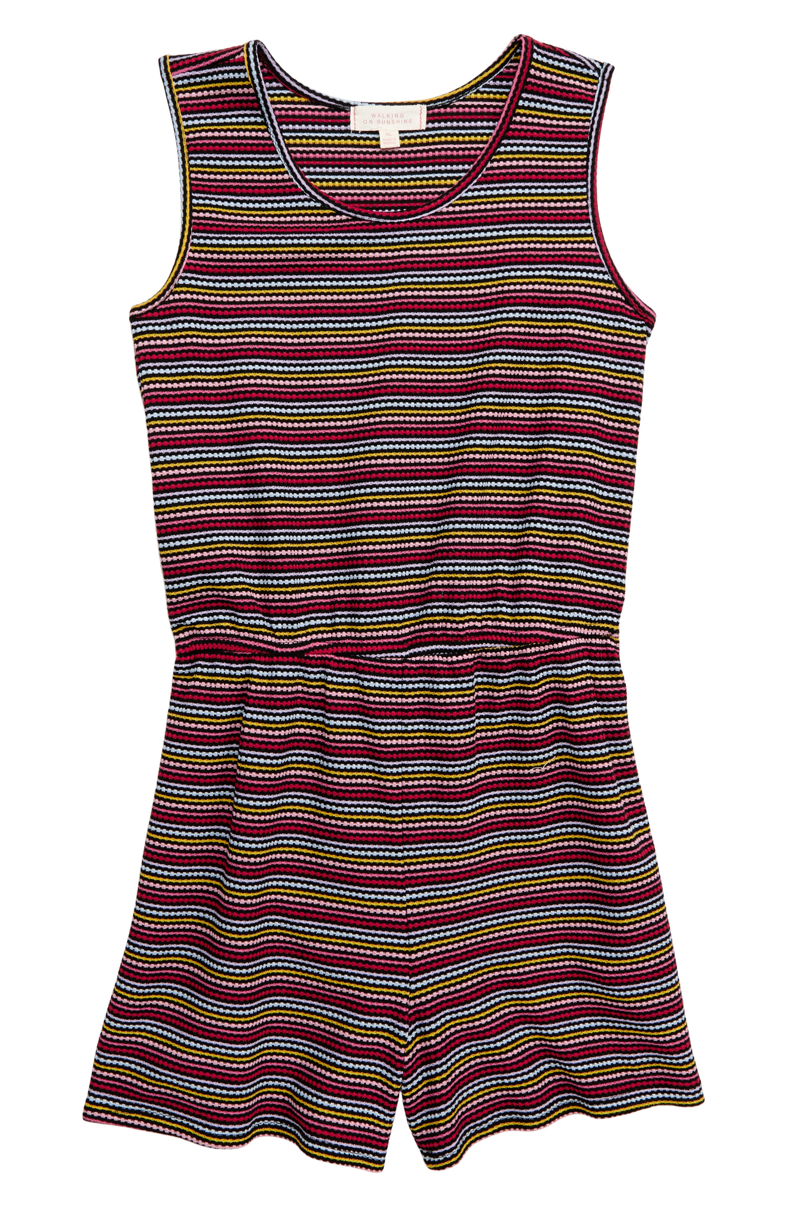 WALKING ON SUNSHINE, Rainbow Stripe Knit Romper, Main thumbnail 1, color, BLACK MULTI