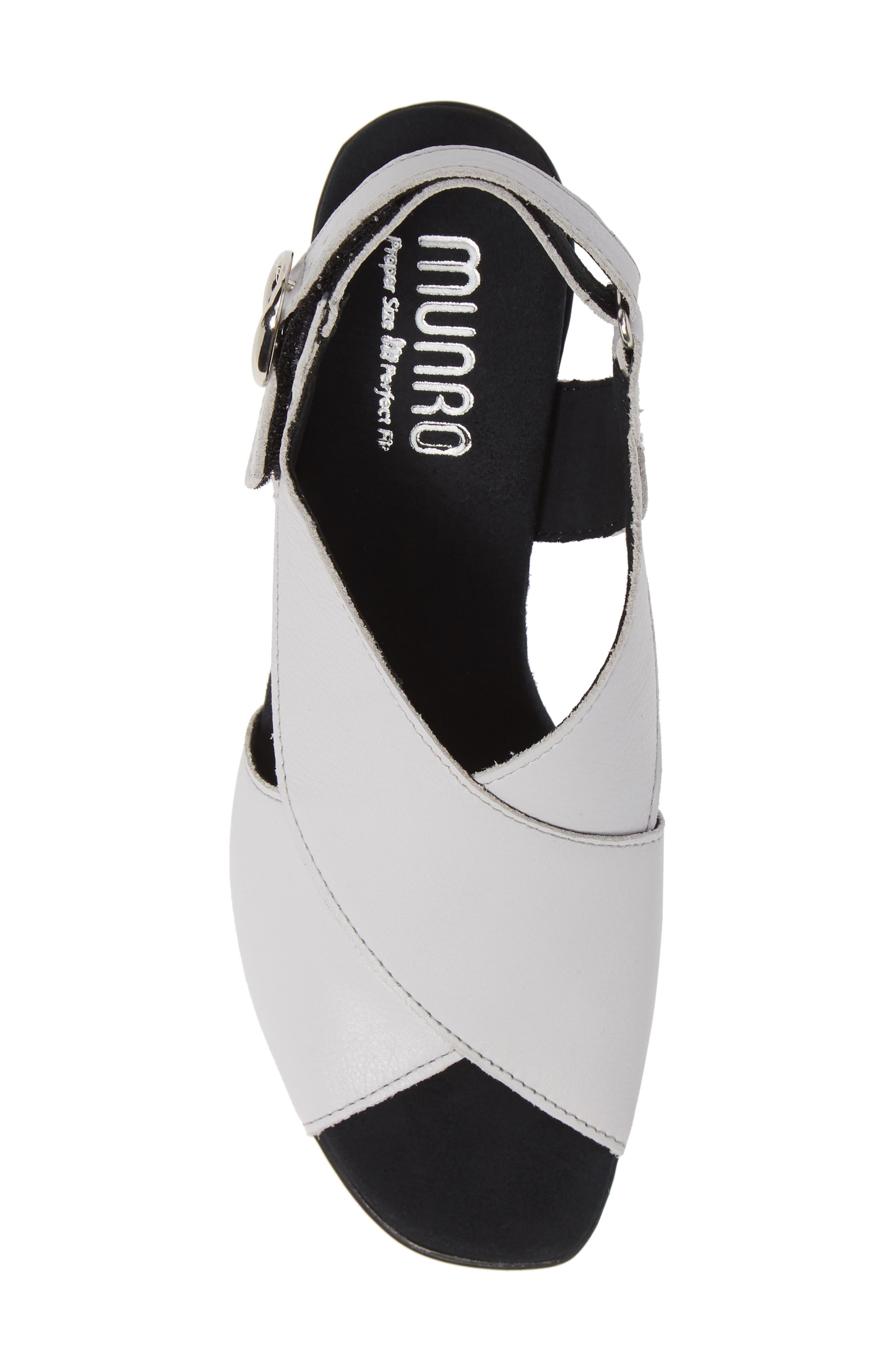MUNRO, Laine Block Heel Sandal, Alternate thumbnail 5, color, WHITE LEATHER