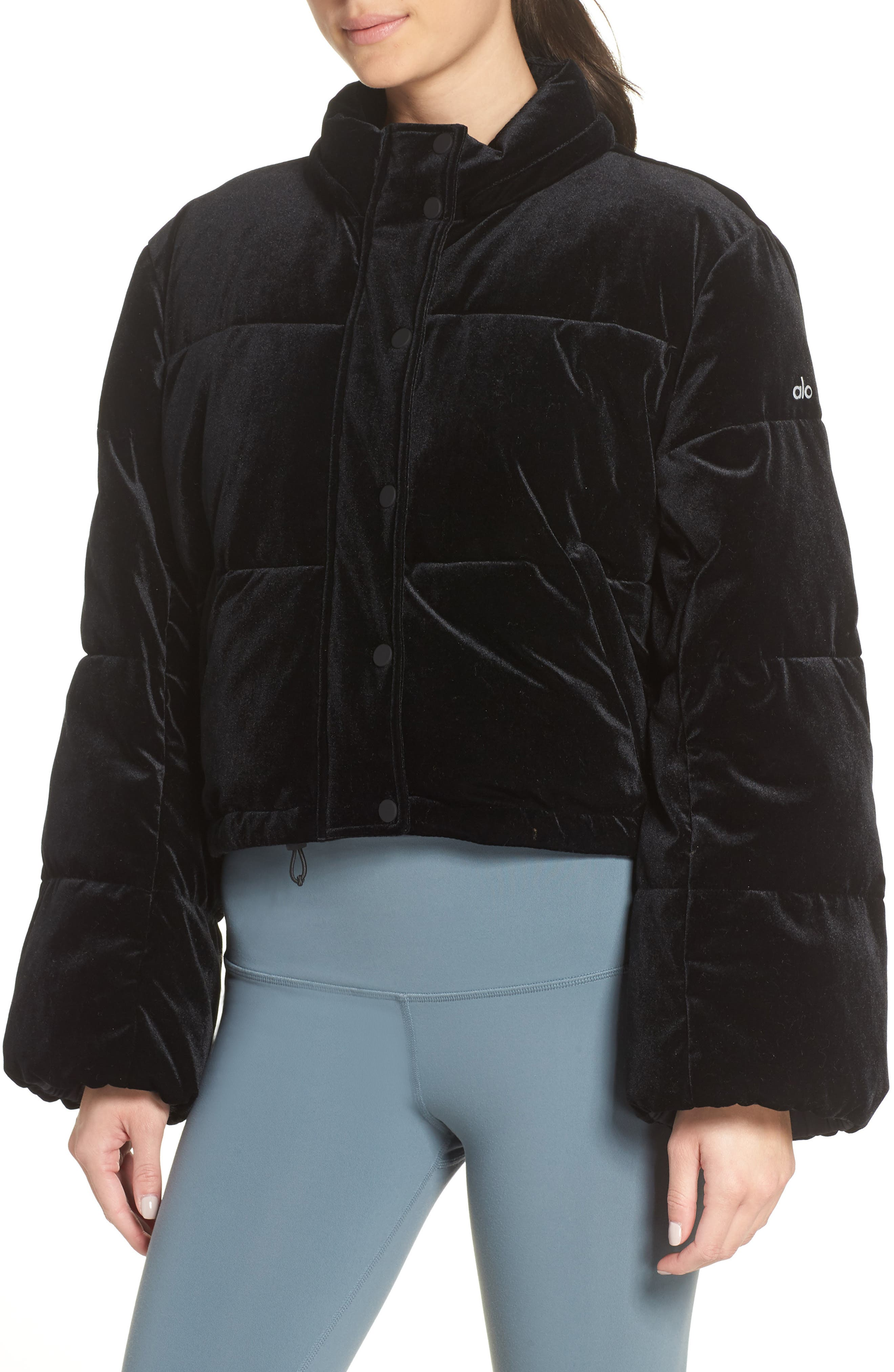 ALO, Velvet Puffer Jacket, Alternate thumbnail 5, color, 001