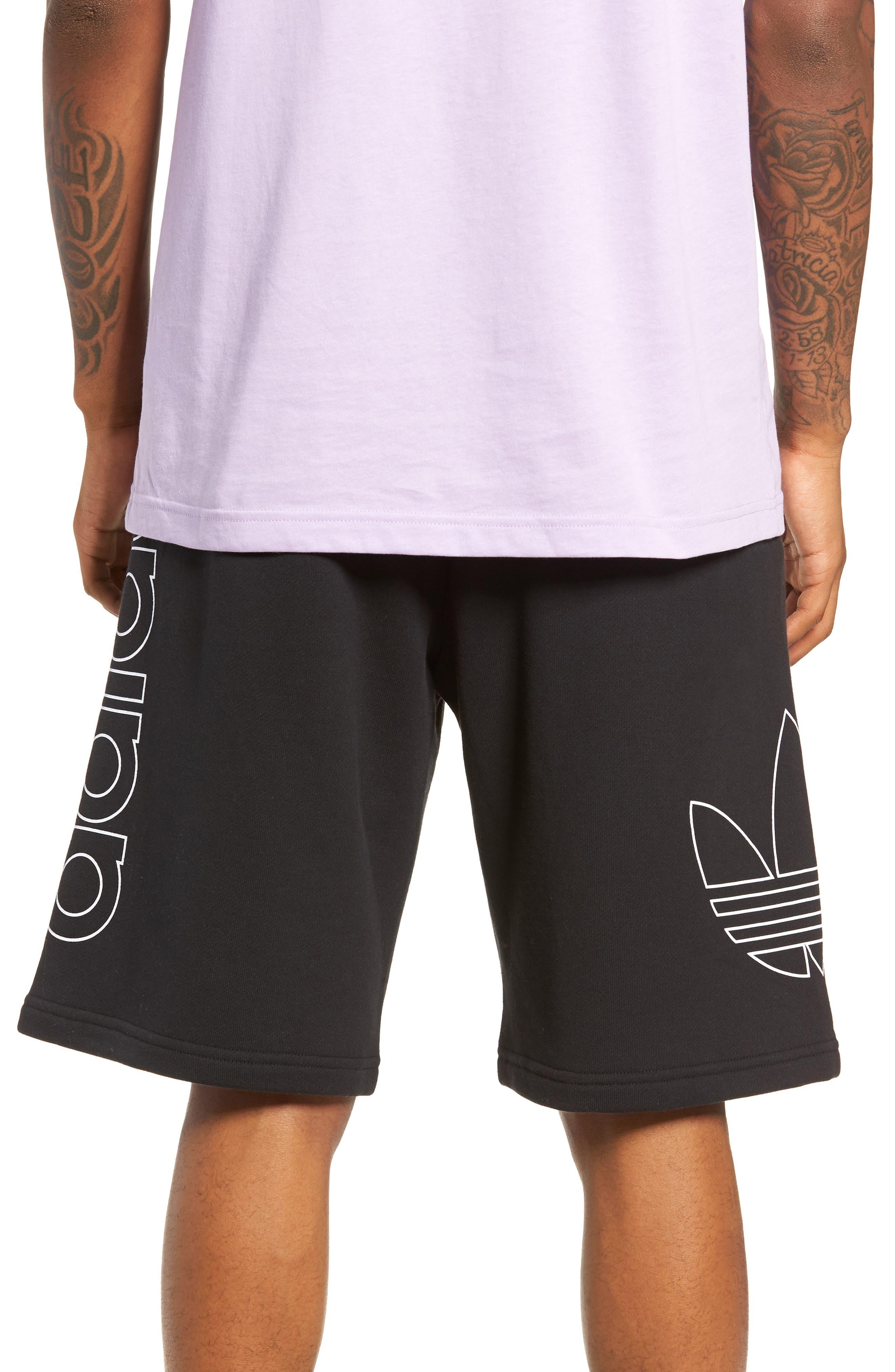 ADIDAS ORIGINALS, FT OTLN Athletic Shorts, Alternate thumbnail 2, color, BLACK/ WHITE