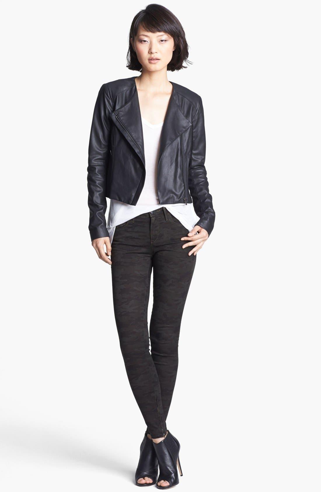 VEDA, 'Dali' Leather Jacket, Alternate thumbnail 2, color, 001
