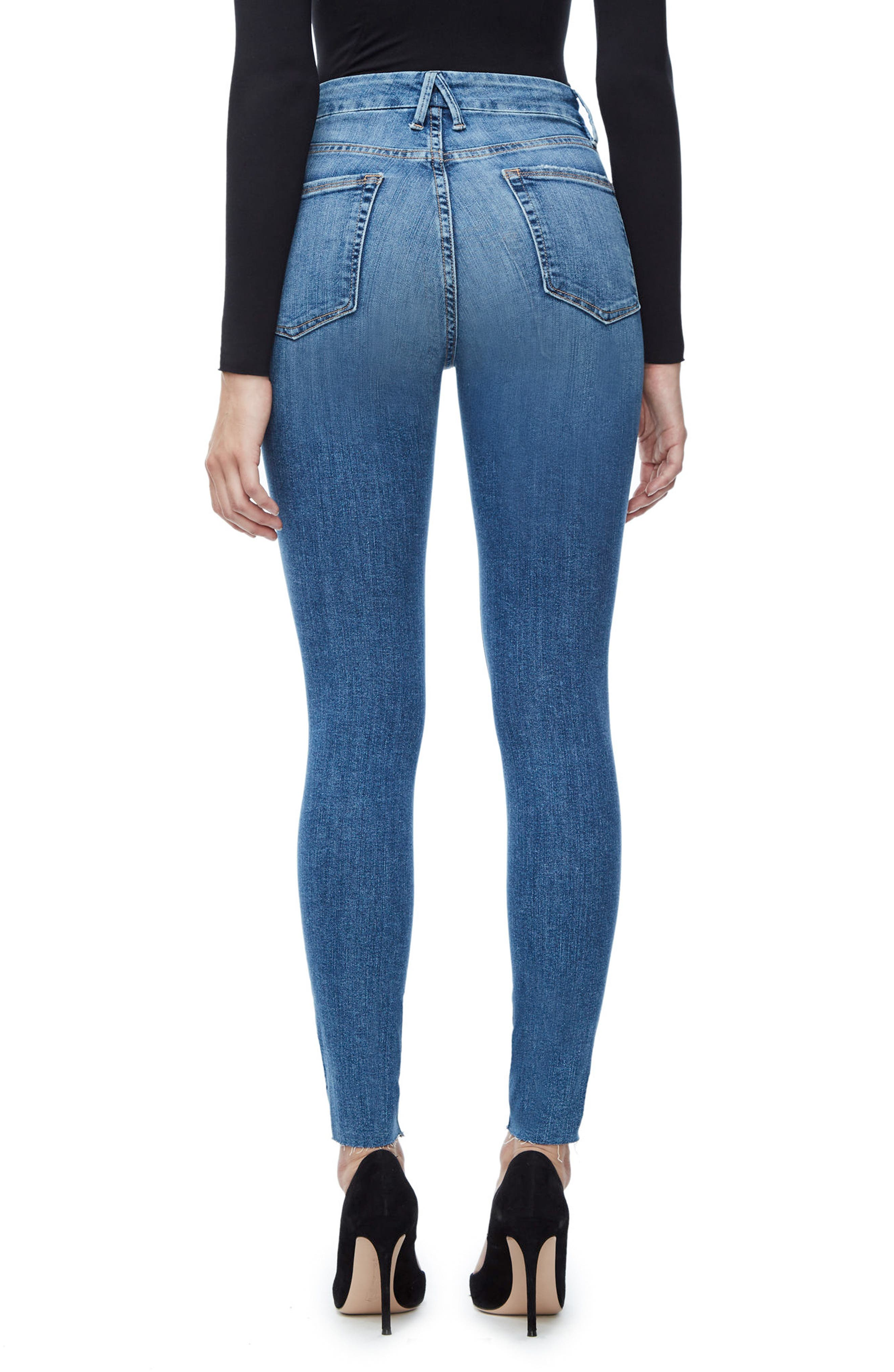 GOOD AMERICAN, Good Waist Raw Edge Skinny Jeans, Alternate thumbnail 4, color, BLUE 092