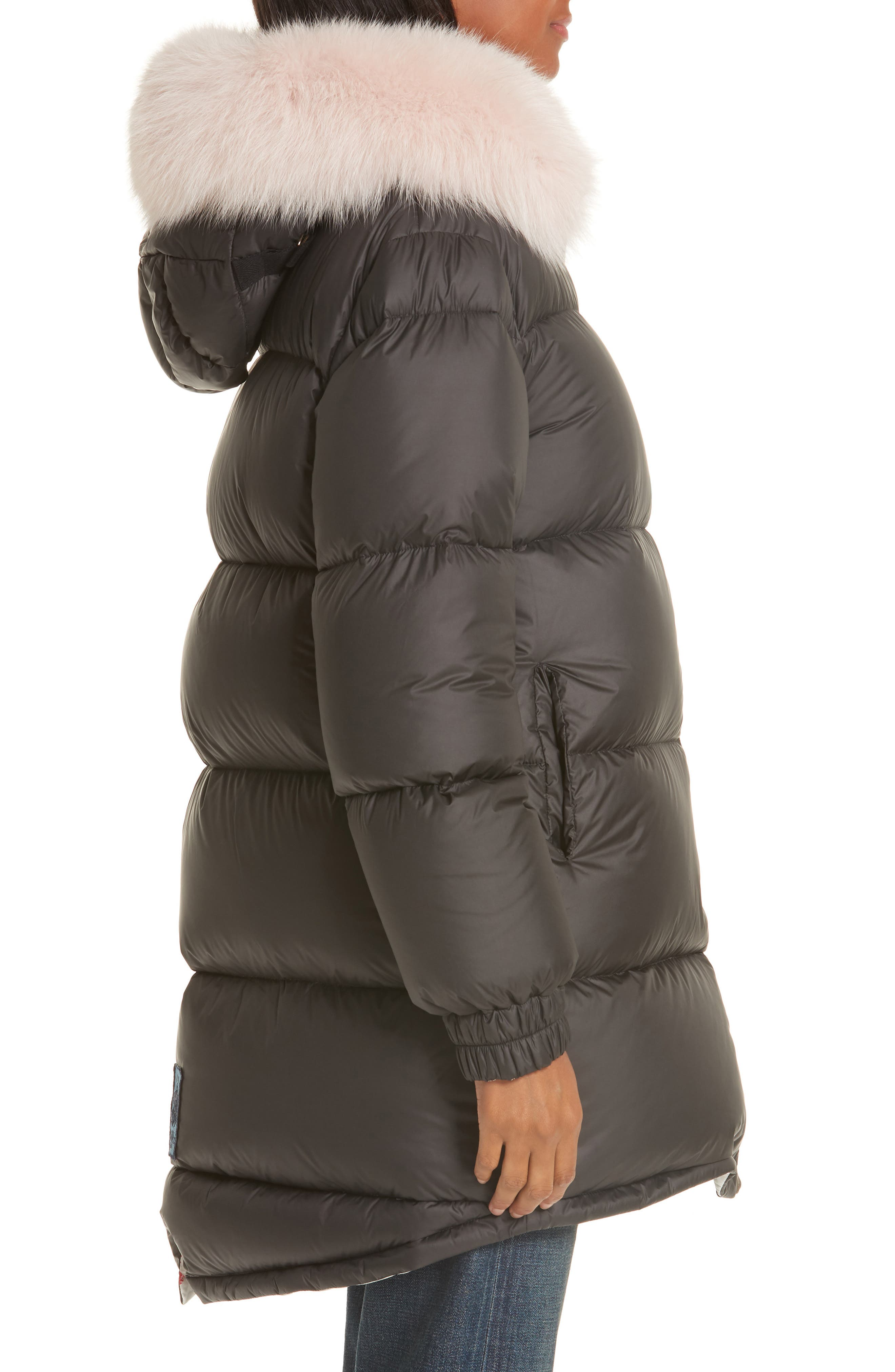 MR & MRS ITALY, Genuine Fox Fur Trim Down Fill Puffer Coat, Alternate thumbnail 5, color, BLACK
