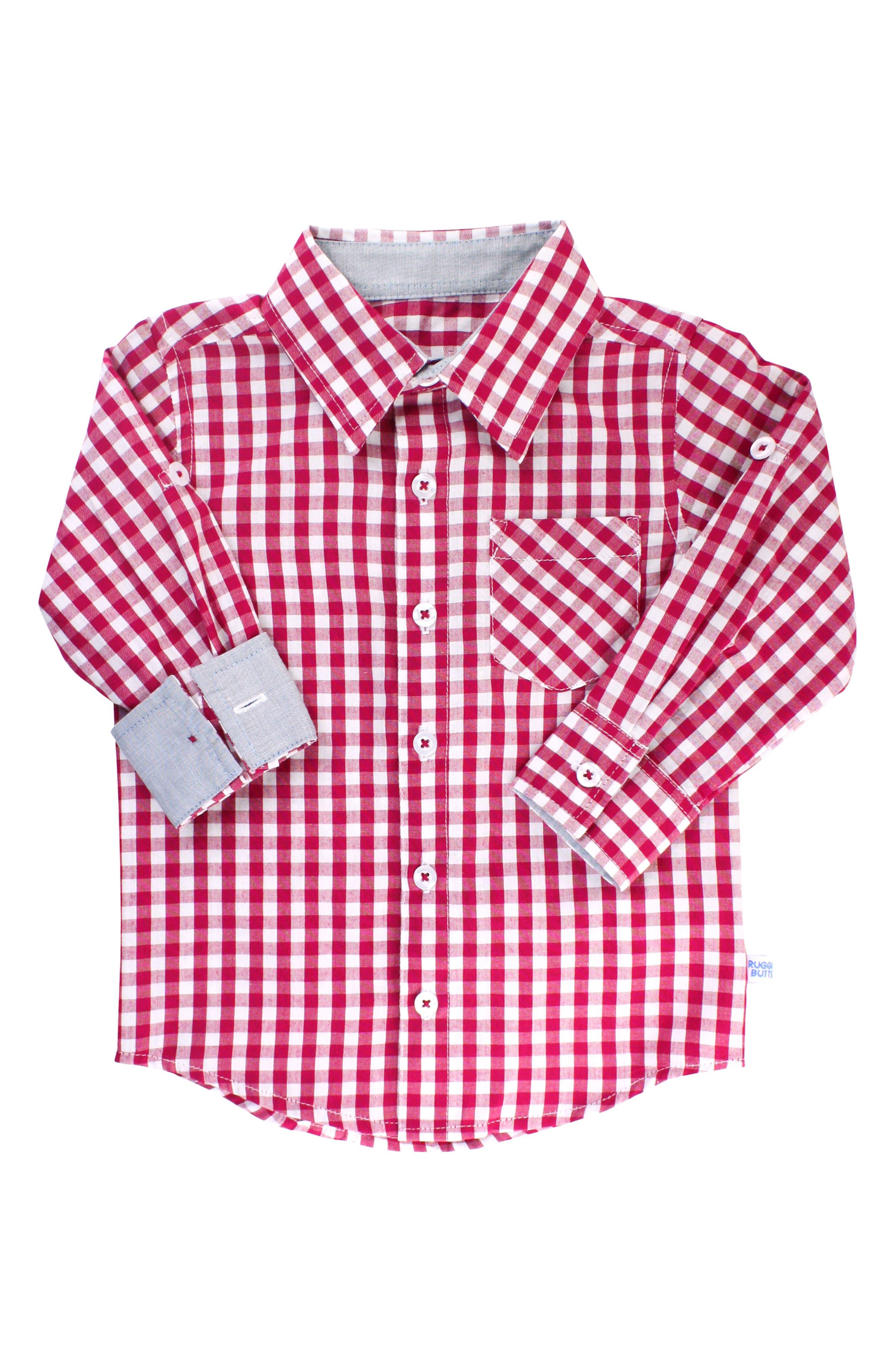 RUGGEDBUTTS, Gingham Shirt & Pullover Sweater Set, Alternate thumbnail 3, color, 300