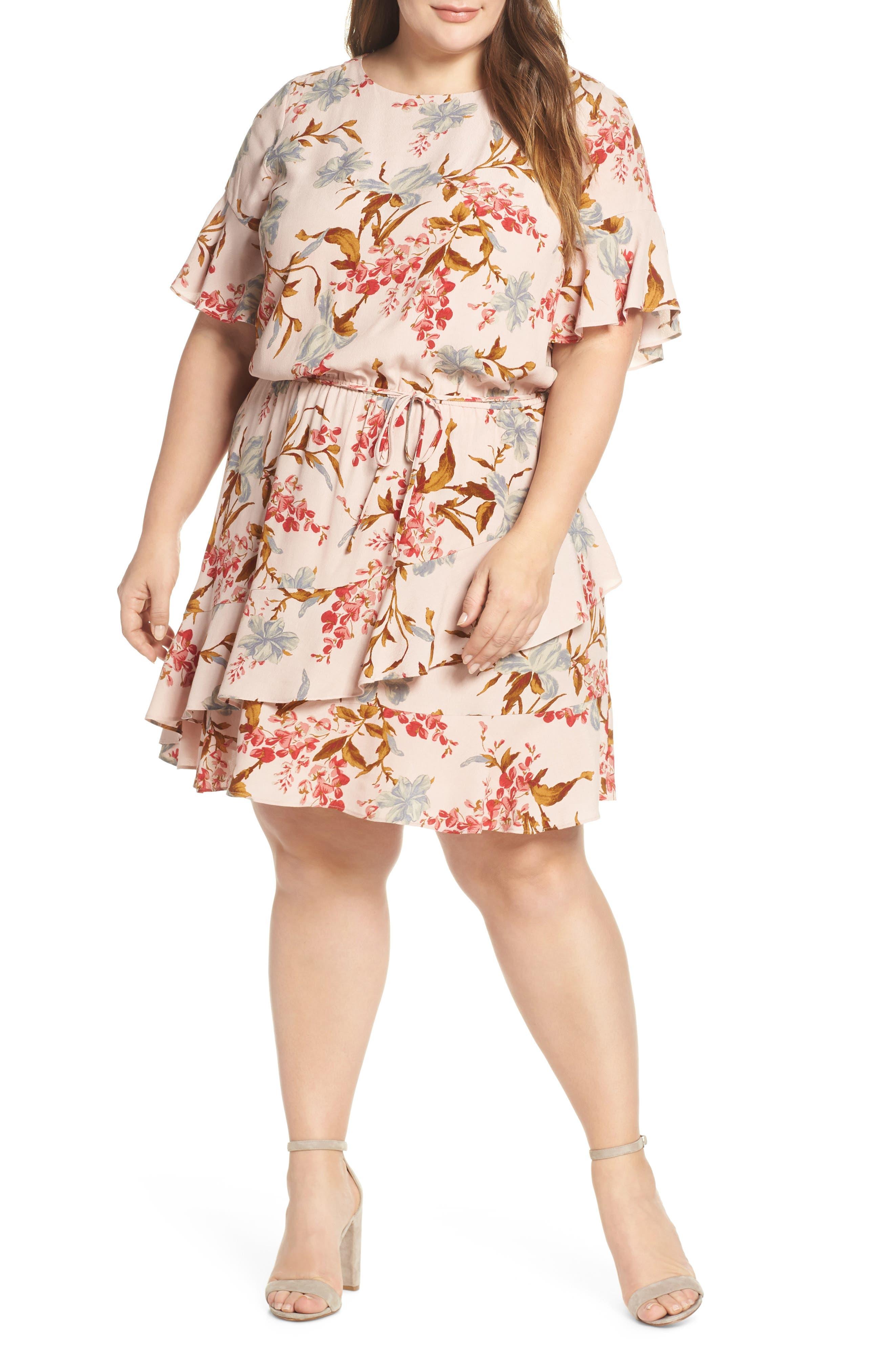 Plus Size Vince Camuto Ruffle Wildflower Print Dress, Orange