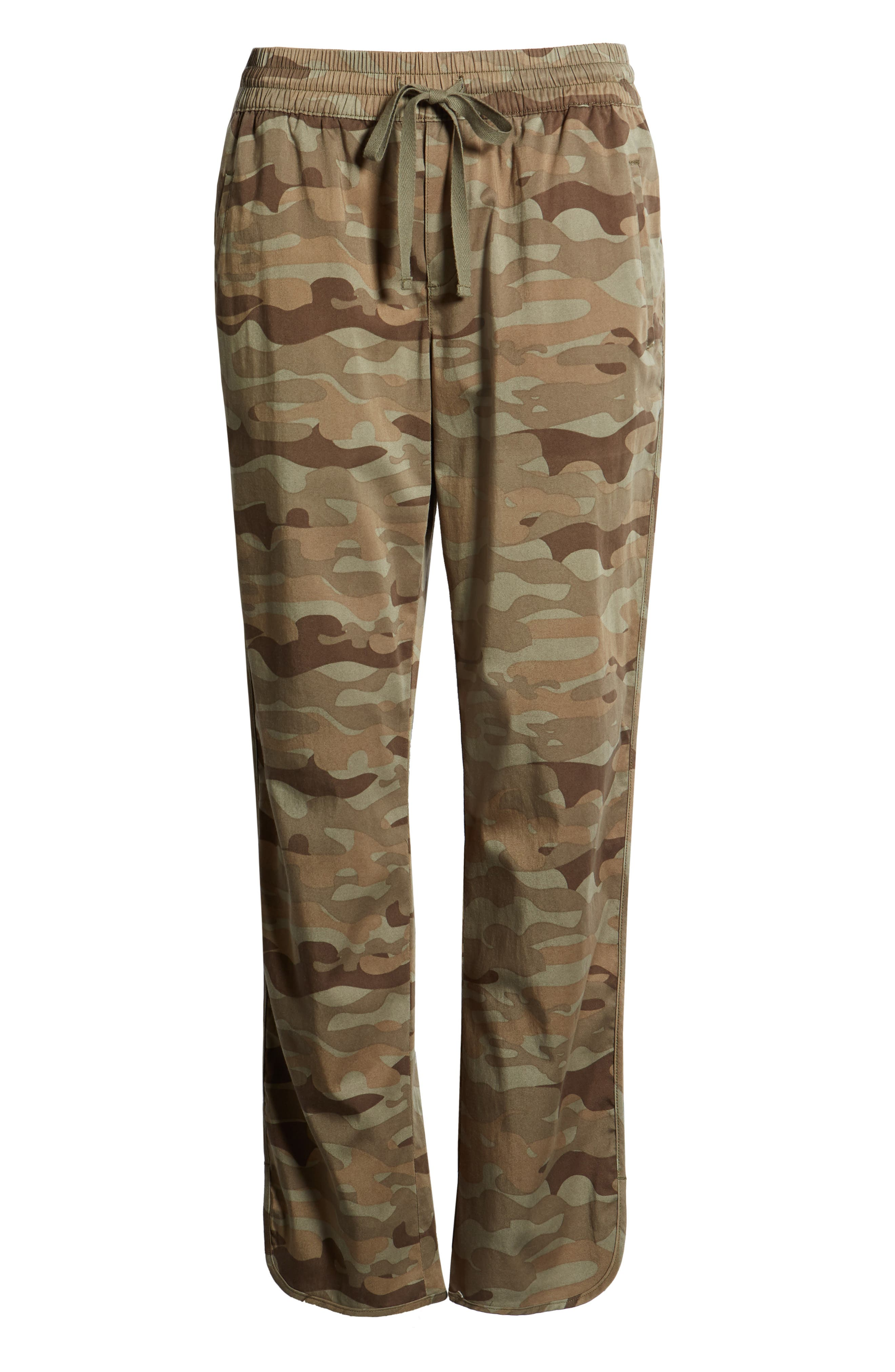 CASLON<SUP>®</SUP>, Sandwashed Pull-On Pants, Alternate thumbnail 6, color, OLIVE FADED LARGE CAMO PRINT