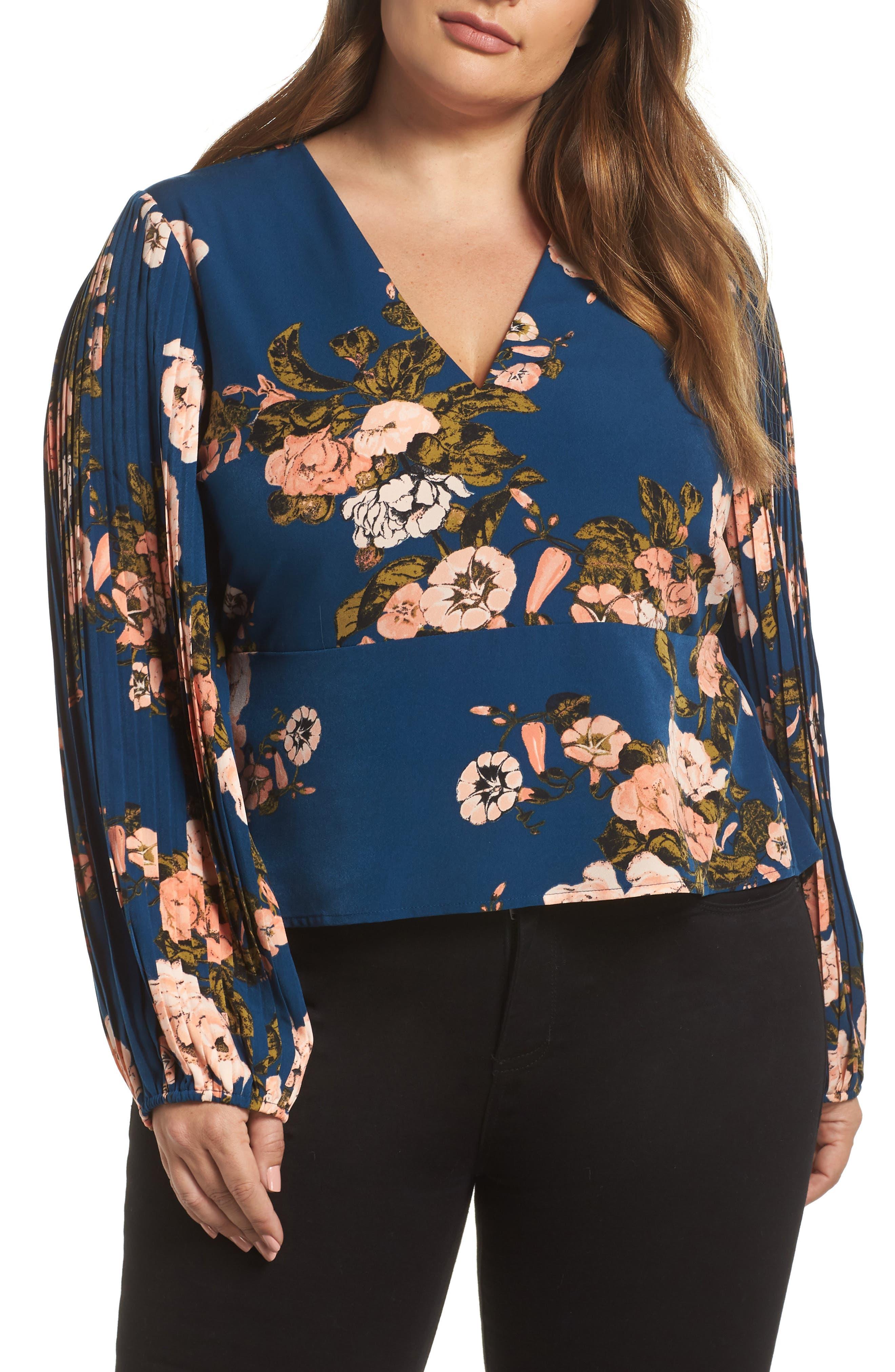 LEITH Pleated Sleeve Blouse, Main, color, 420